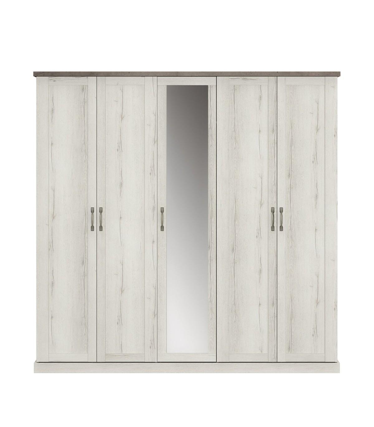 Armoire 5 portes avec miroir - Décor Chêne blanchi
