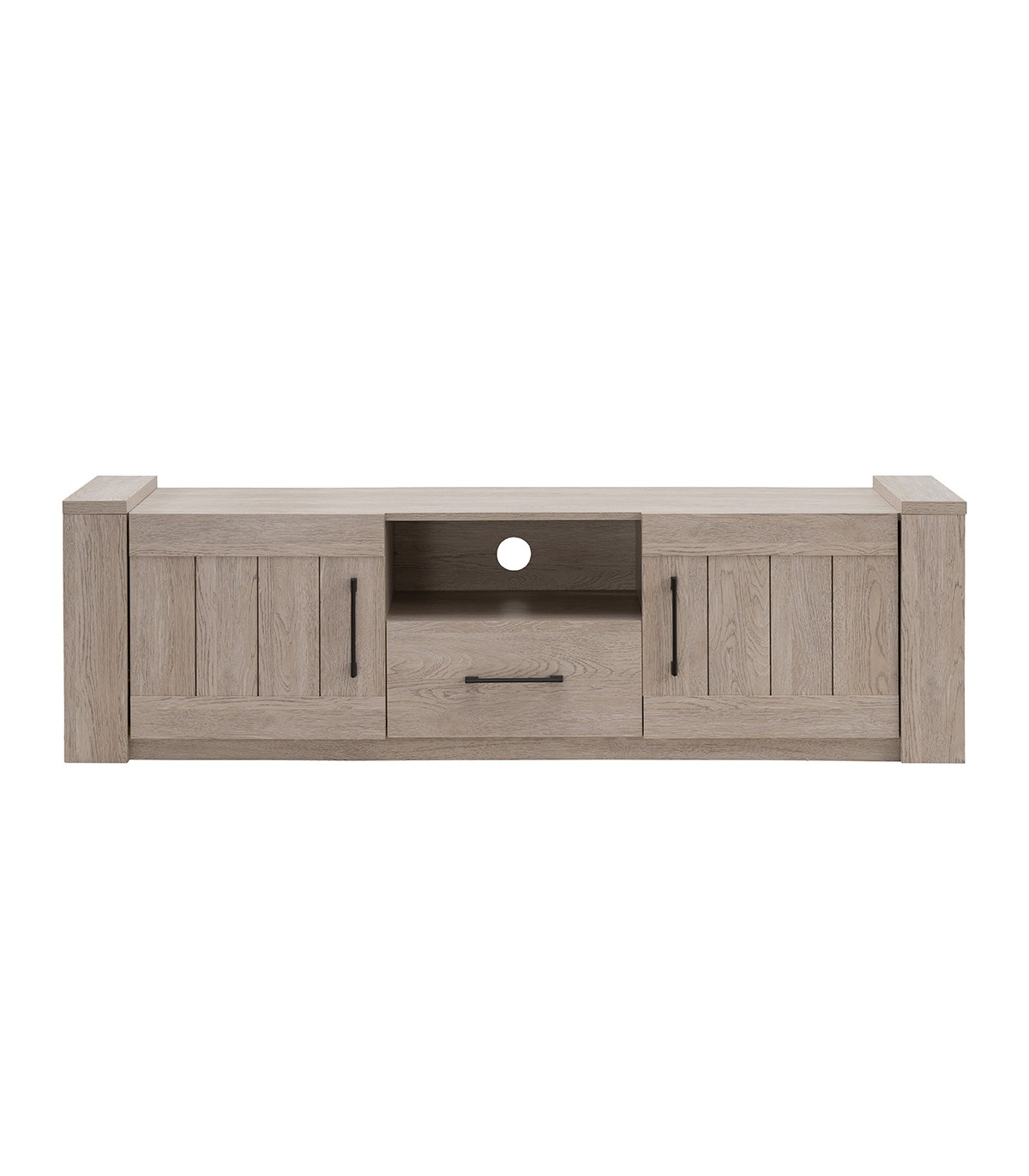Meuble TV 1 tiroir 2 portes effet chêne - L169cm