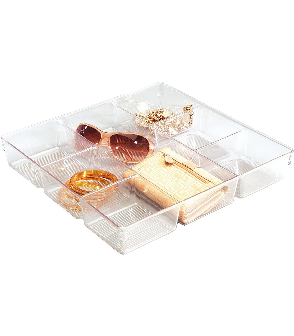 Bac de rangement pour tiroir 7 compartiments - Transparent