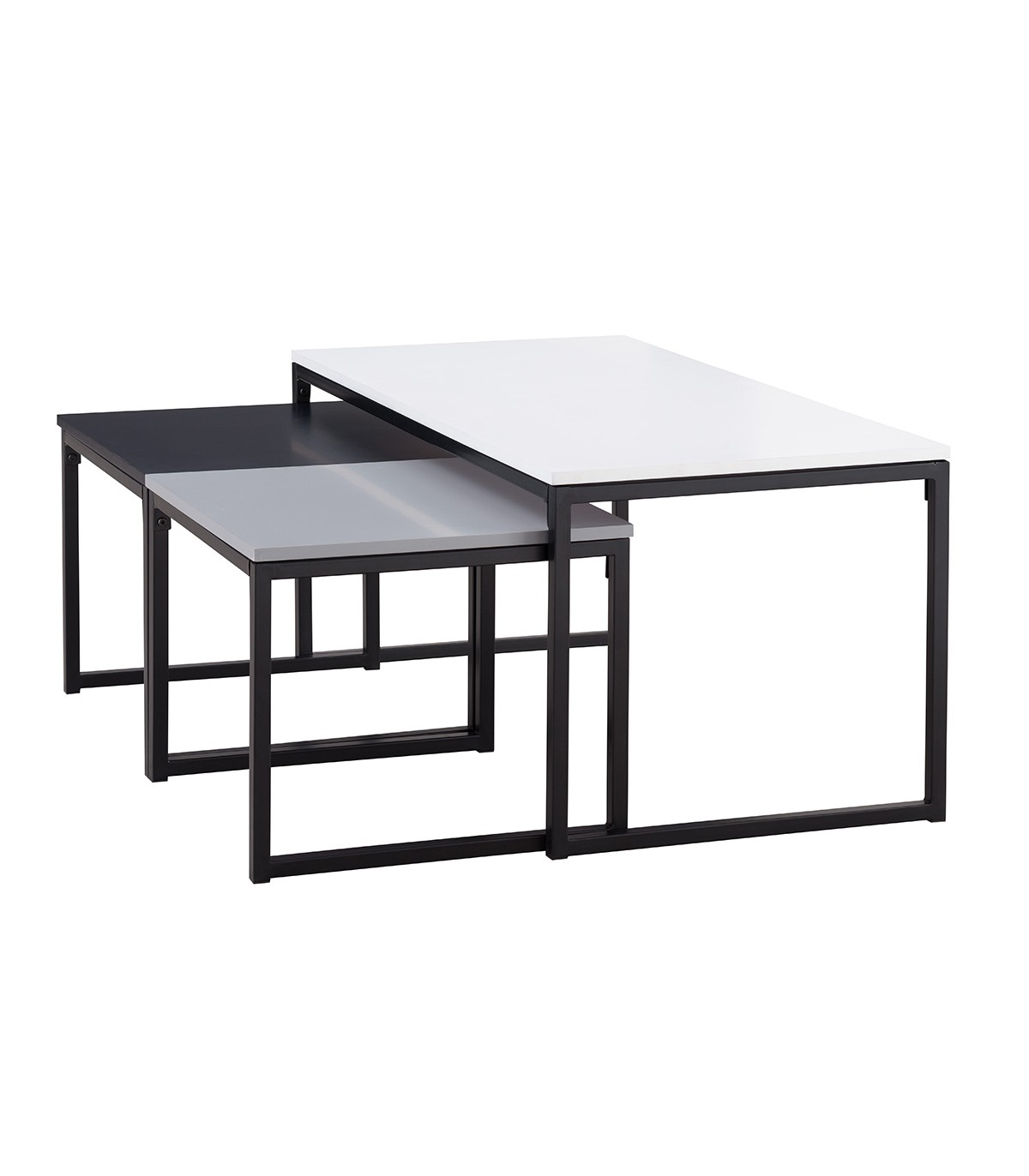 Lot de 3 Tables basses avec pieds métalliques - Noir, gris et blanc