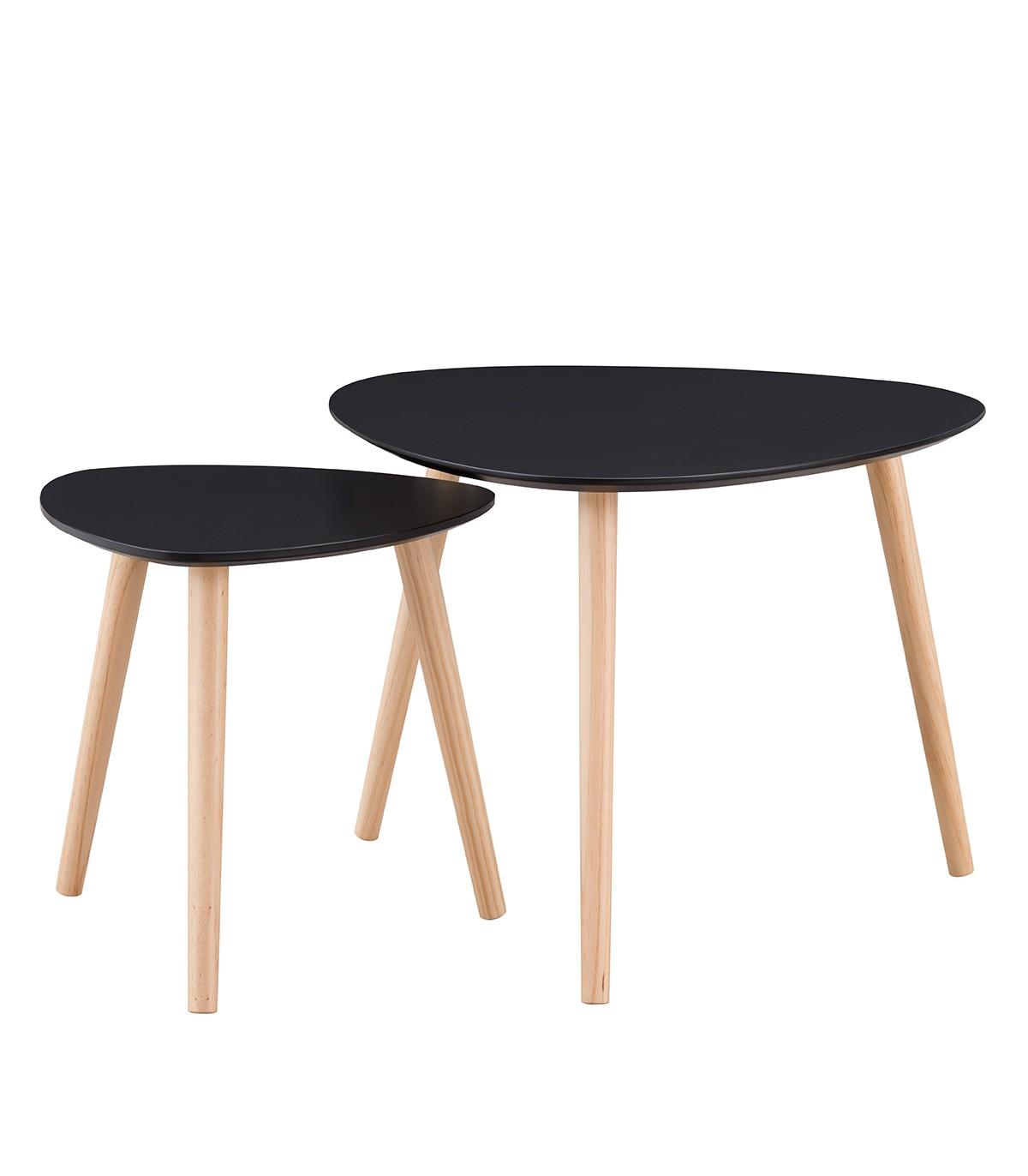 Lot de 2 Tables gigognes laquées noir mat