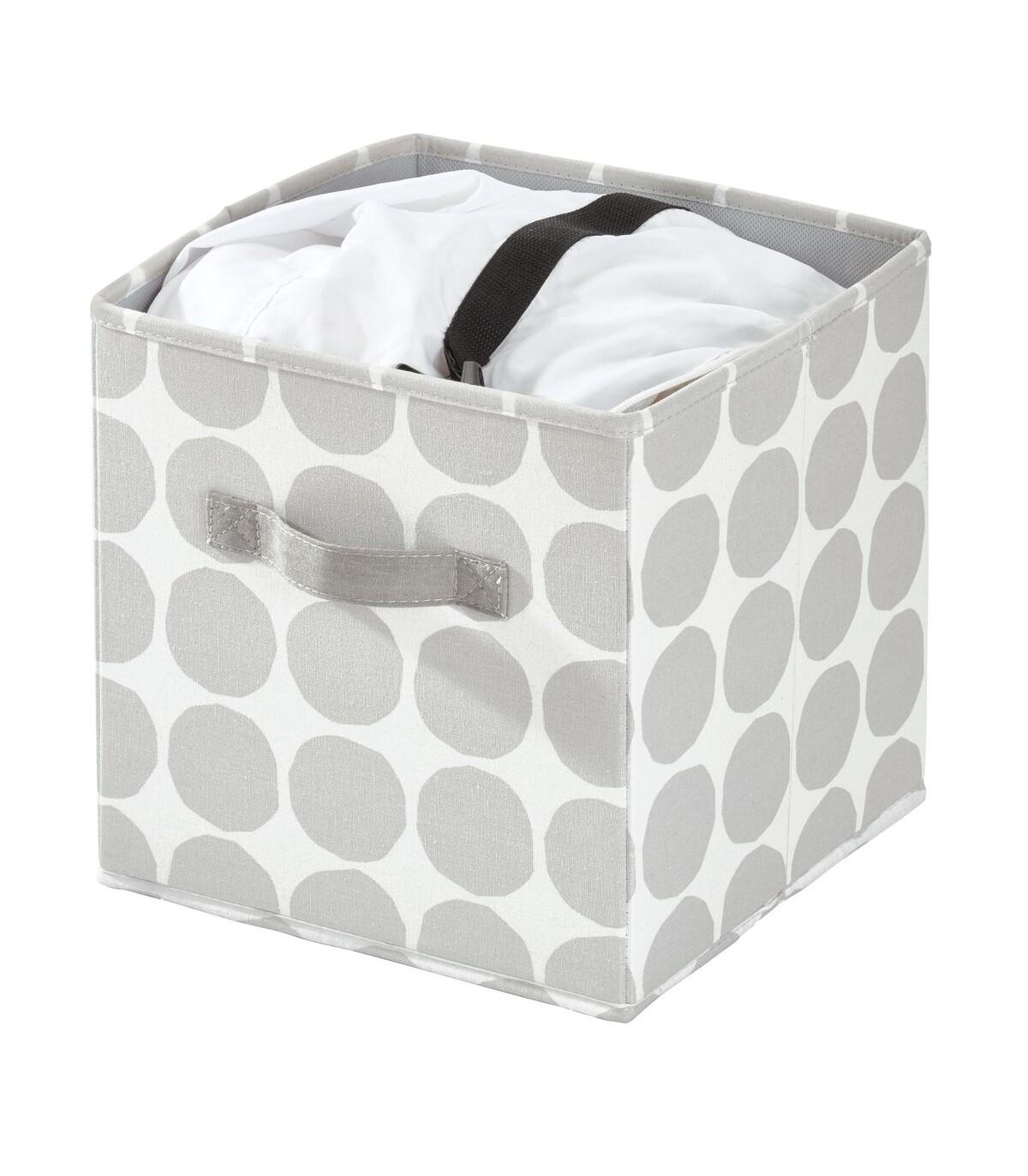 Cube de rangement blanc et gris à motifs -  26 x 26 x 28 cm