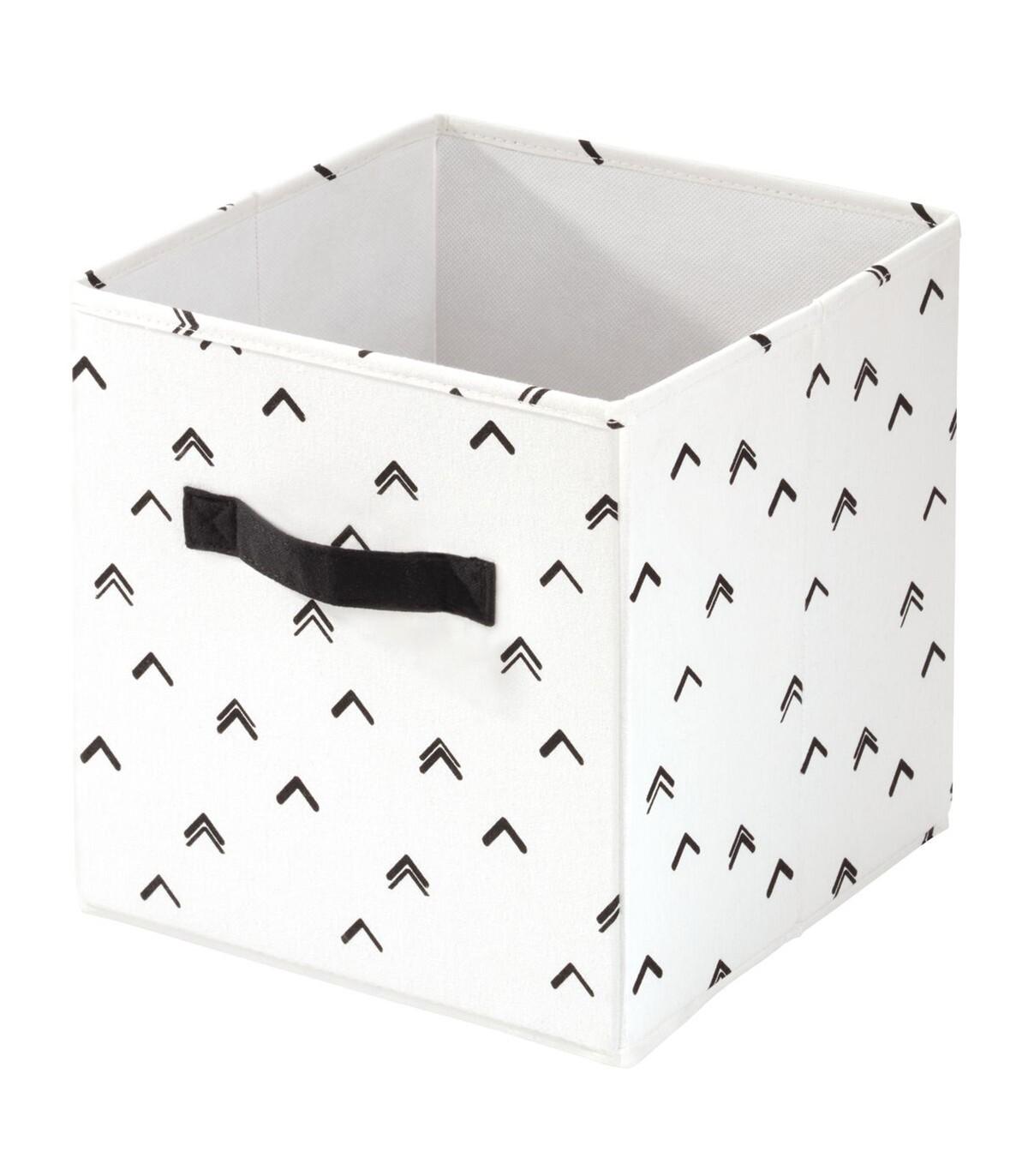 Cube de rangement blanc à motifs noir - 26 x 26 x 28 cm