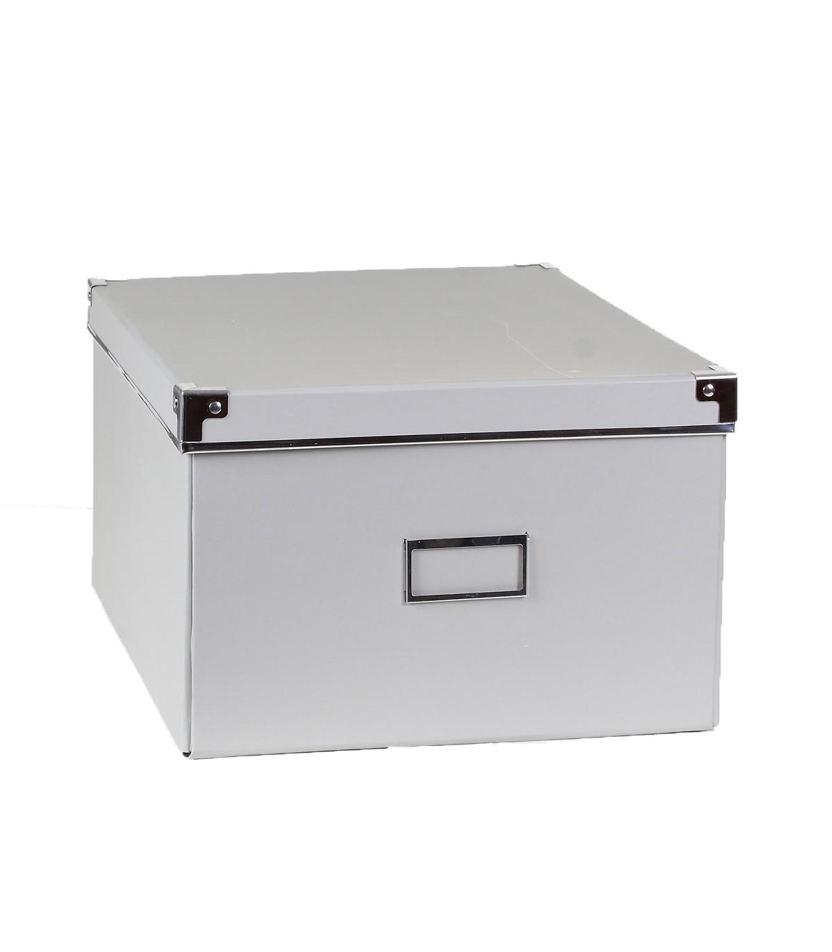 Boîte de rangement grise avec porte étiquette - 35 x 28 x H18cm