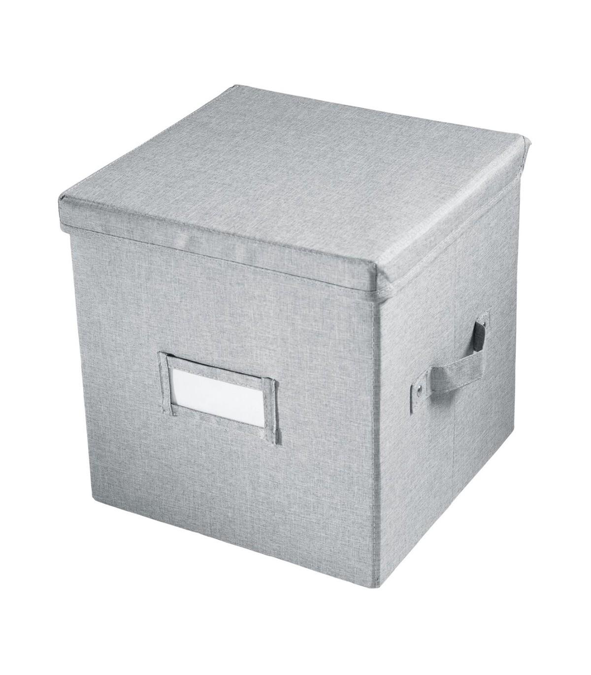 Cube de rangement gris avec couvercle - 29 x 29 x H33cm