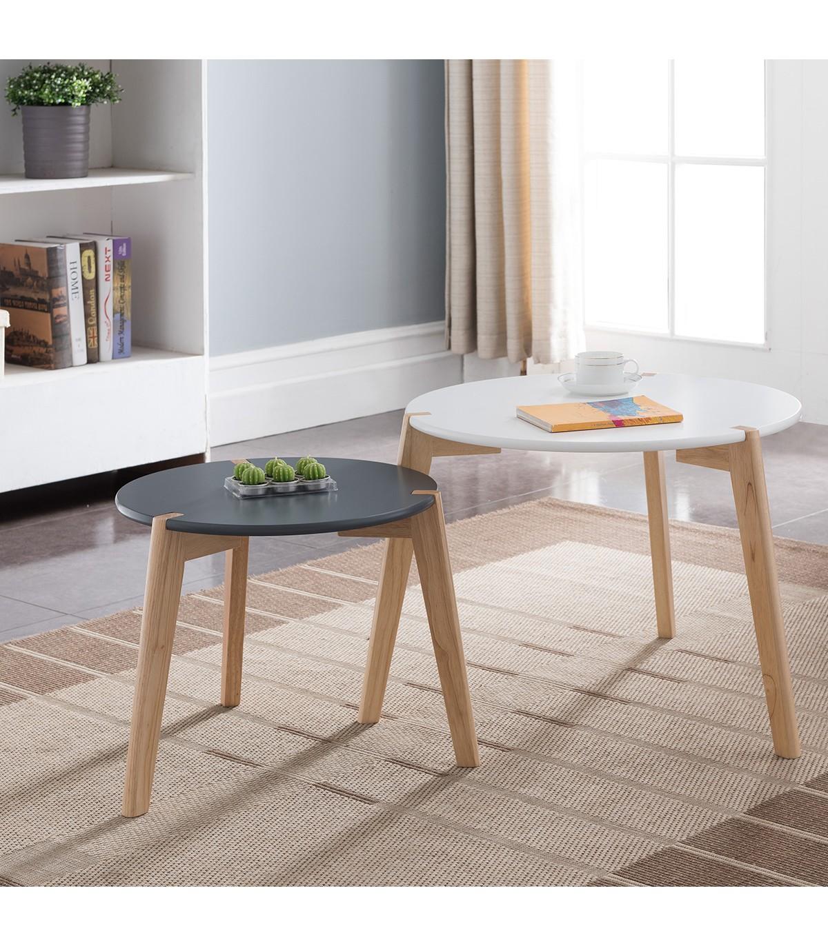 Tables gigognes laquées blanc noir mat - Lot de 2