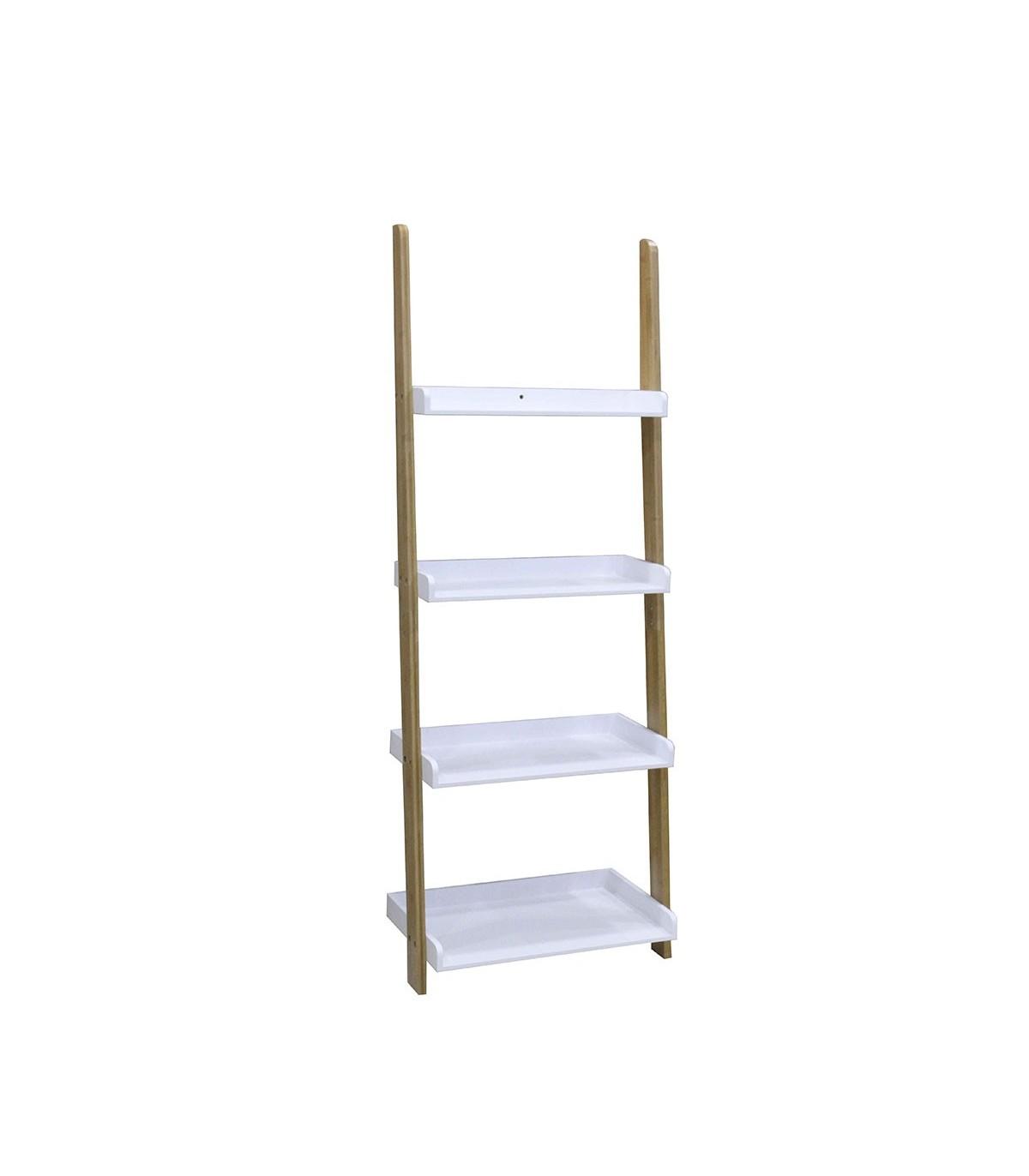Étagère échelle 4 niveaux en bambou - Blanche