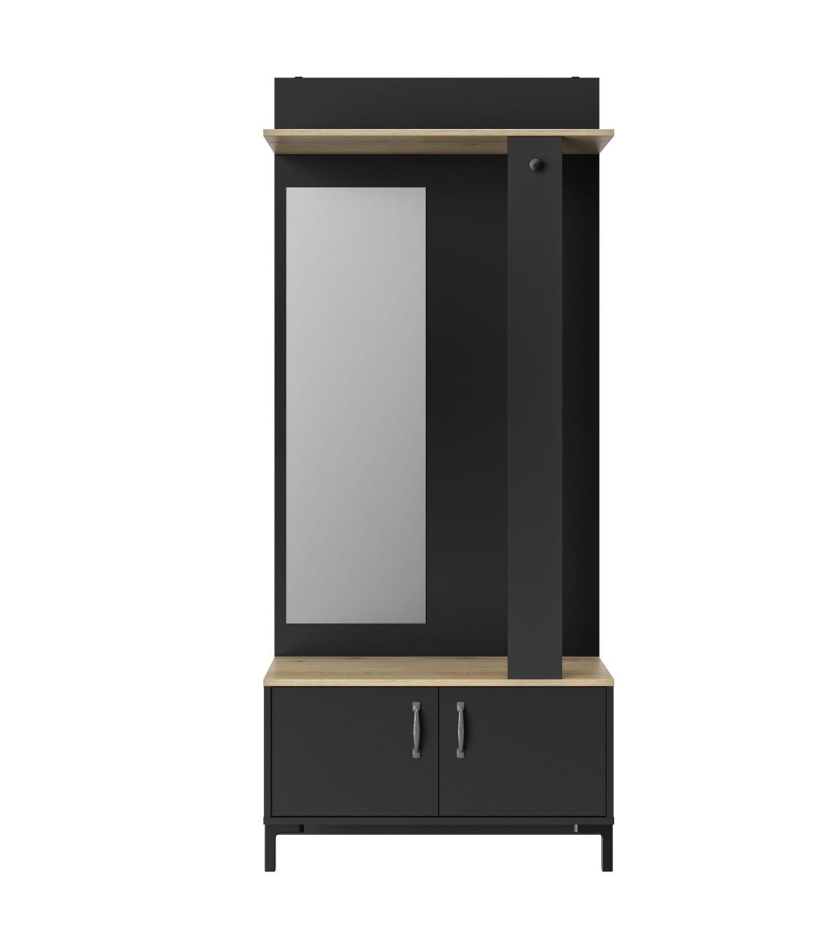 Vestiaire d'entrée noir 2 portes et un miroir