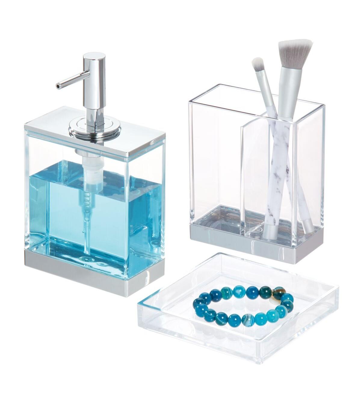 Set de 3 accessoires de lavabo transparent à poser