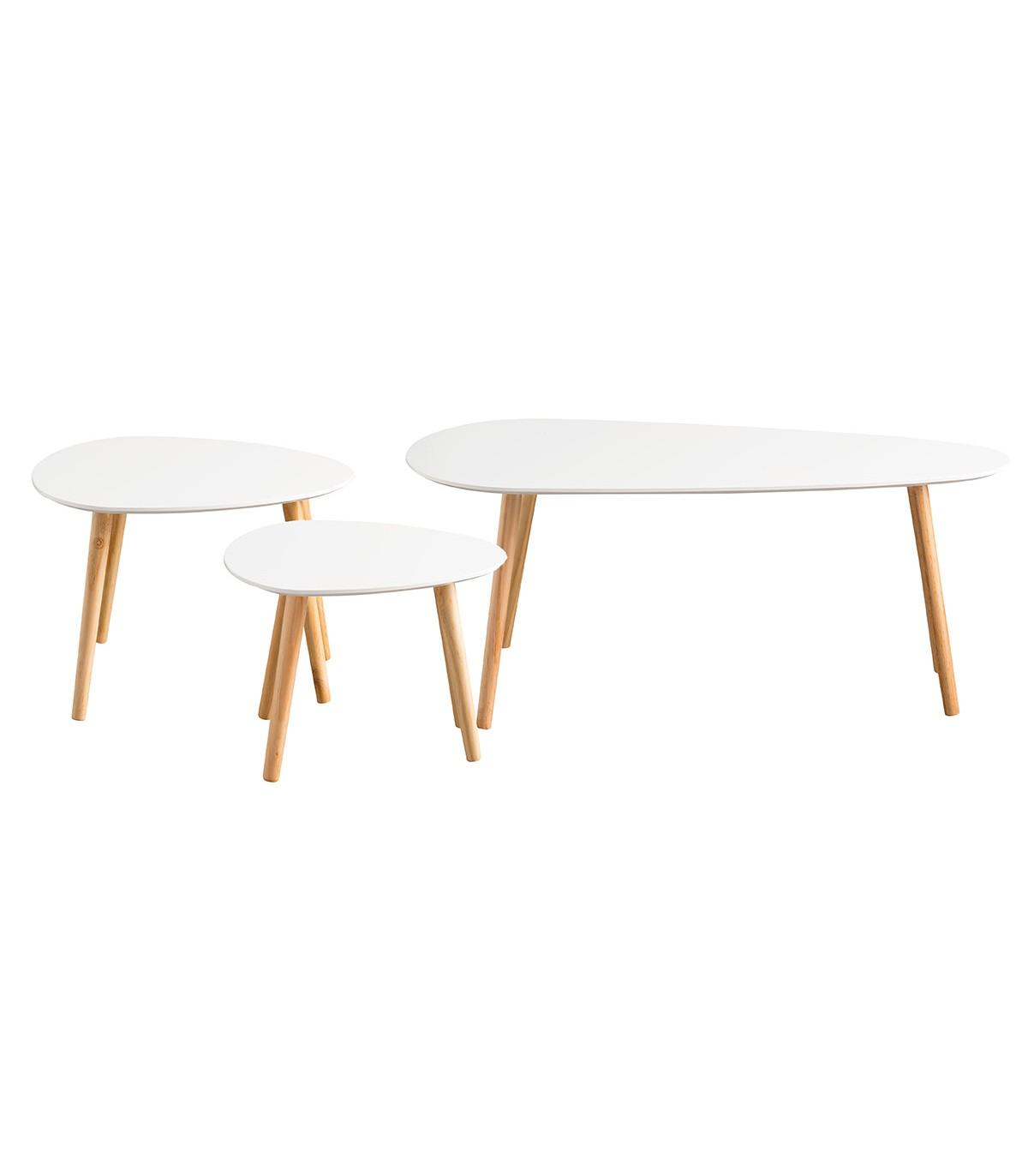 Tables gigognes laquées blanc - Lot de 3