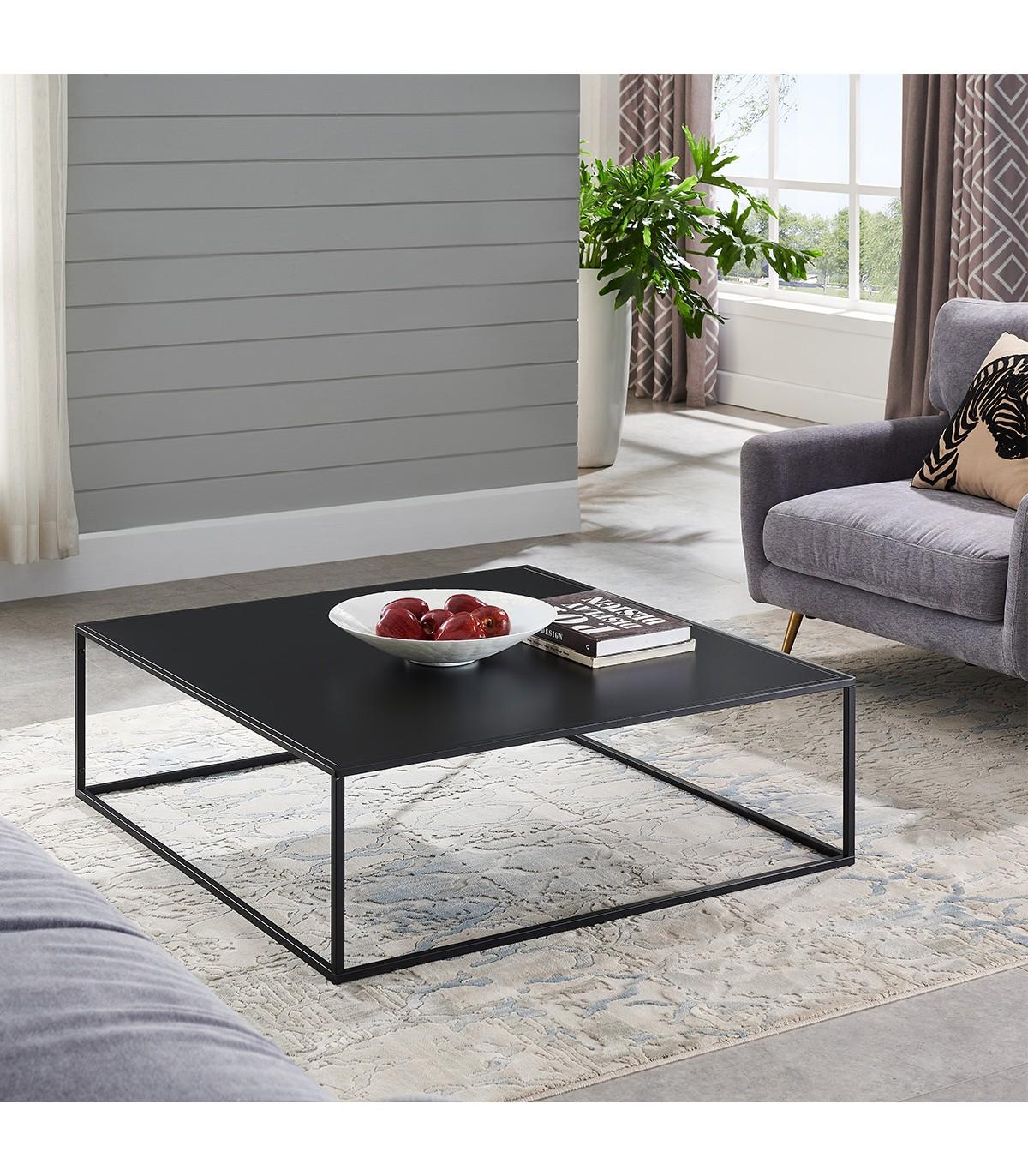 Table basse en métal carrée noire