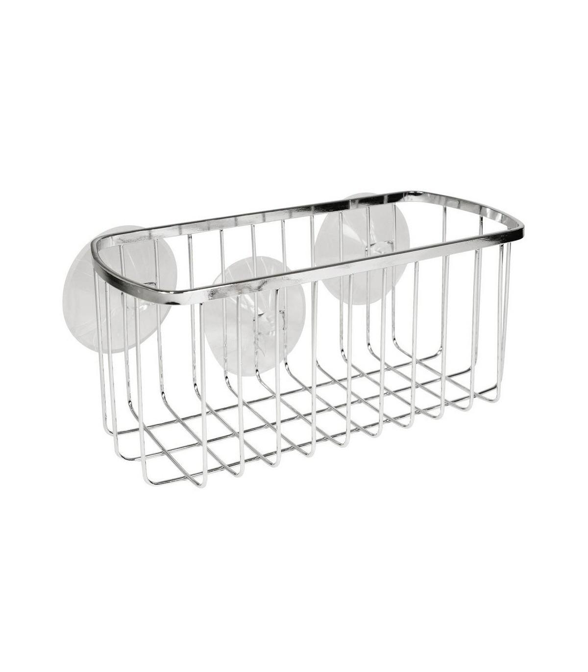 Panier rectangulaire de salle de bain avec ventouses - Argent