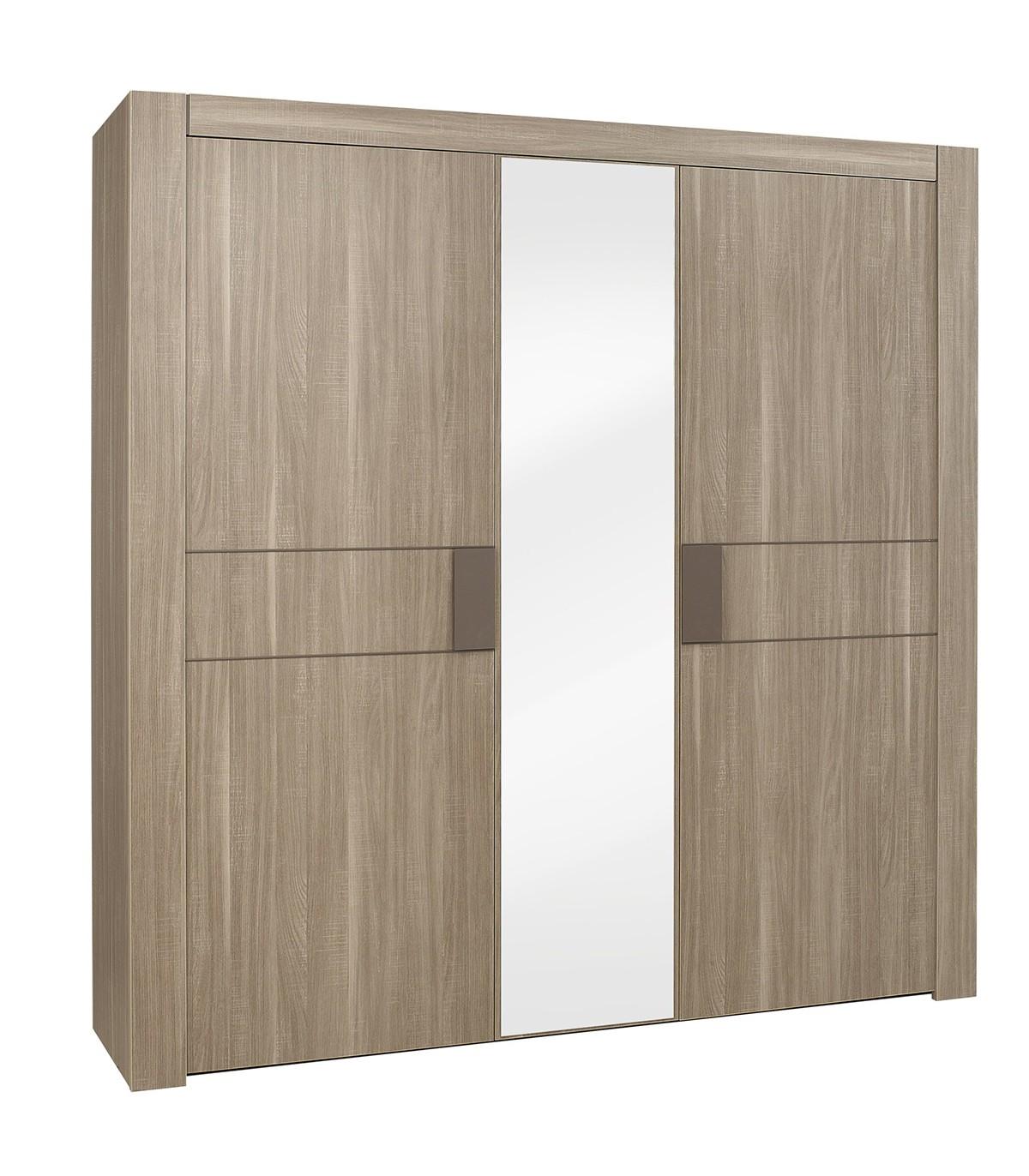 Armoire 3 portes avec miroir central - Marron