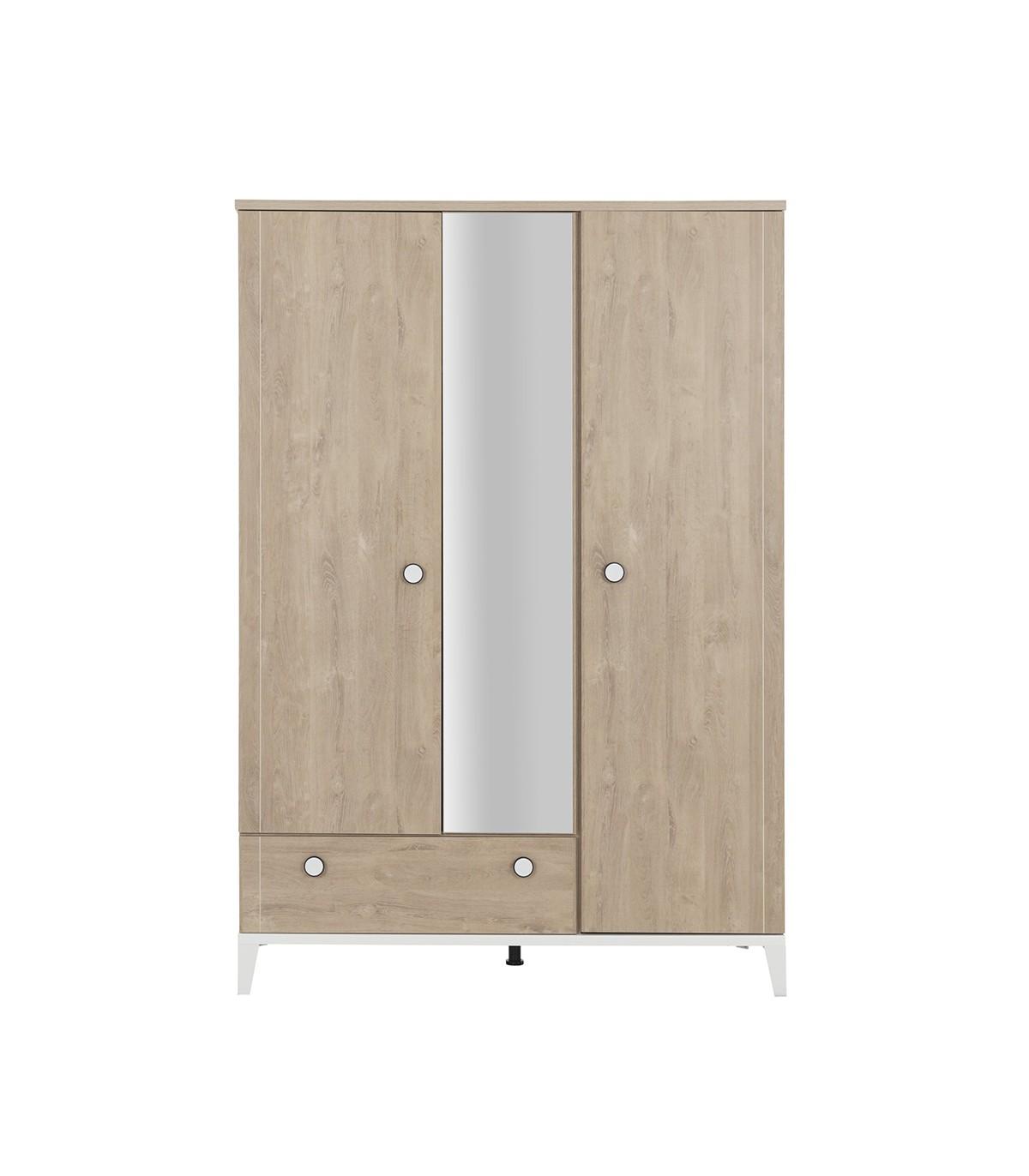 Armoire 3 portes 1 tiroir avec miroir - Marron