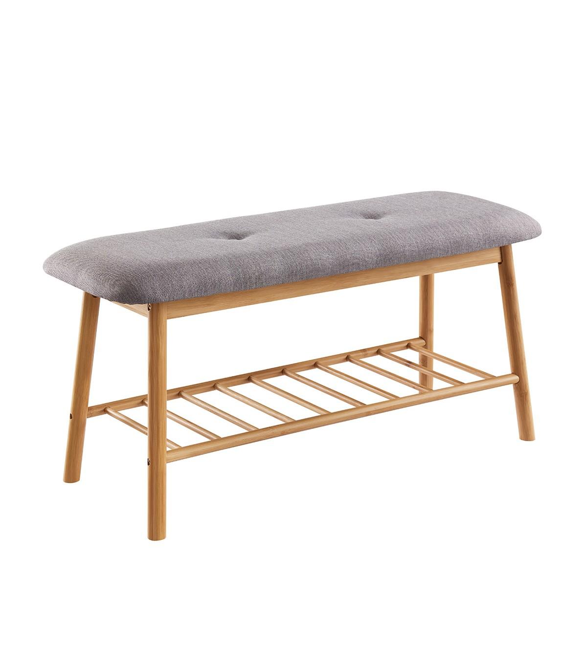 Banc avec assise en tissu gris et structure en bambou
