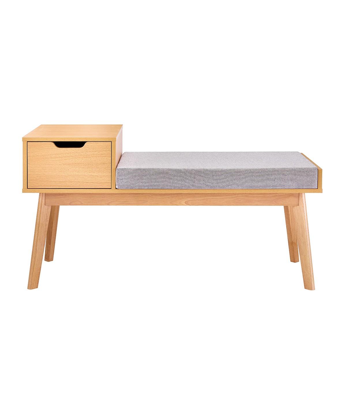 Banc à chaussures 1 tiroir avec assise en tissu - Gris et beige