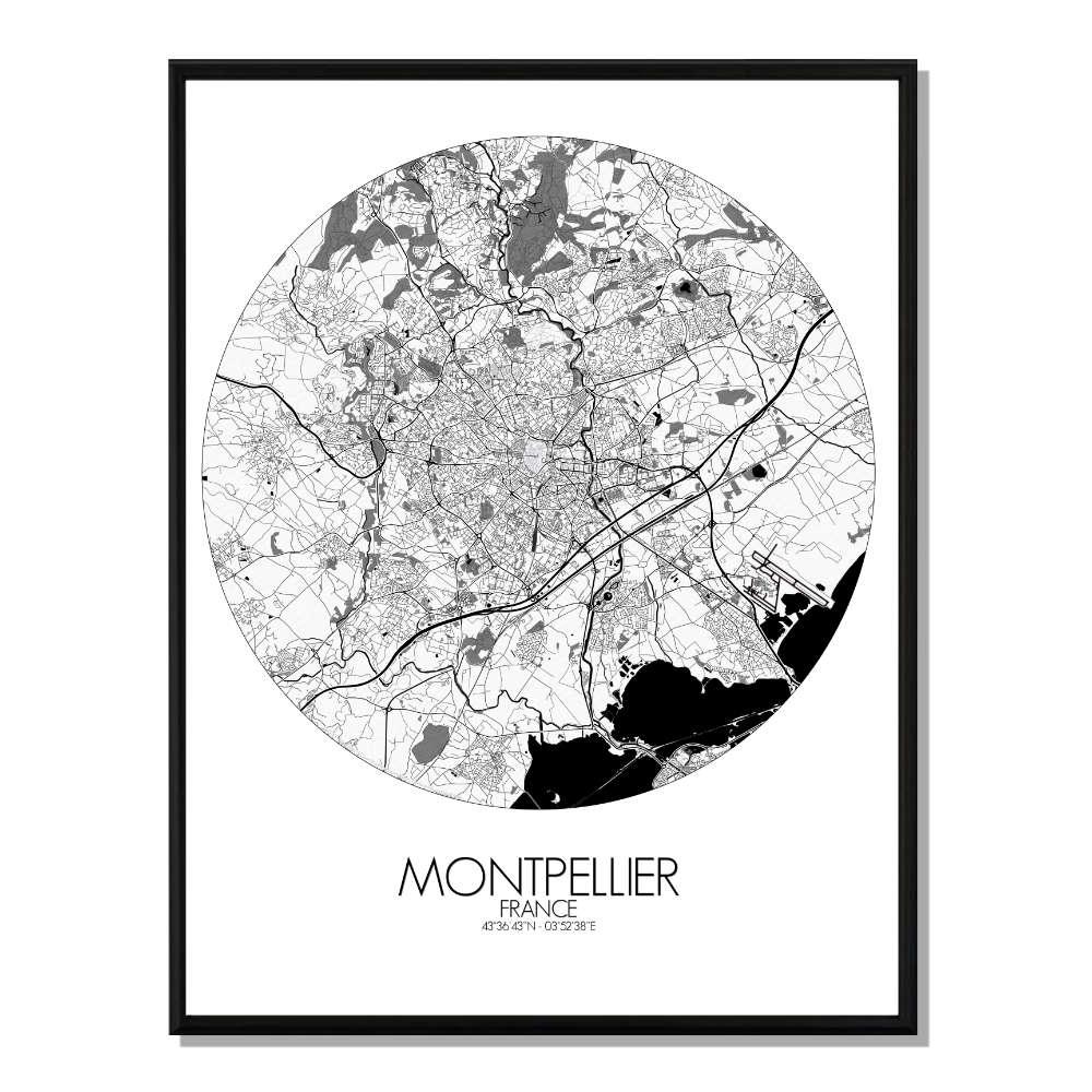 MONTPELLIER - Carte Map Rond 40x50cm