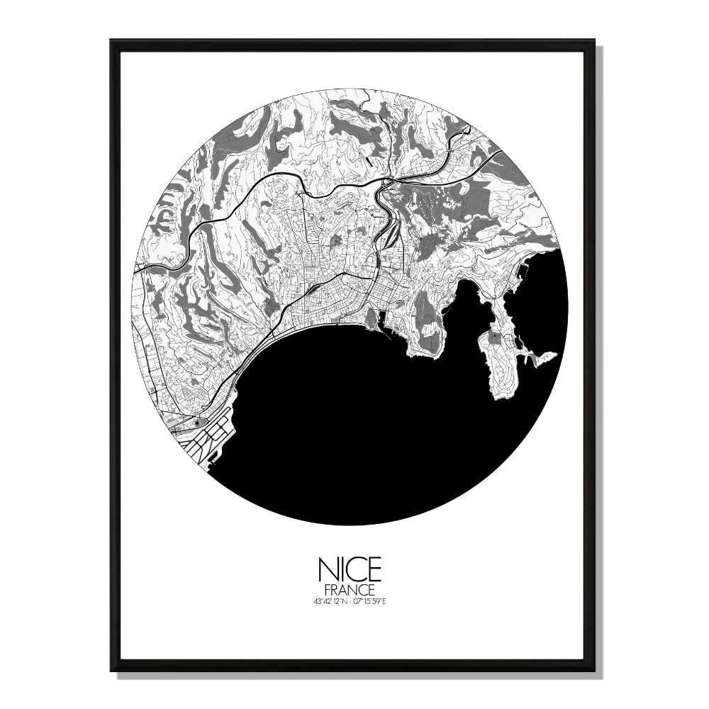 NICE - Carte City Map Rond 40x50cm