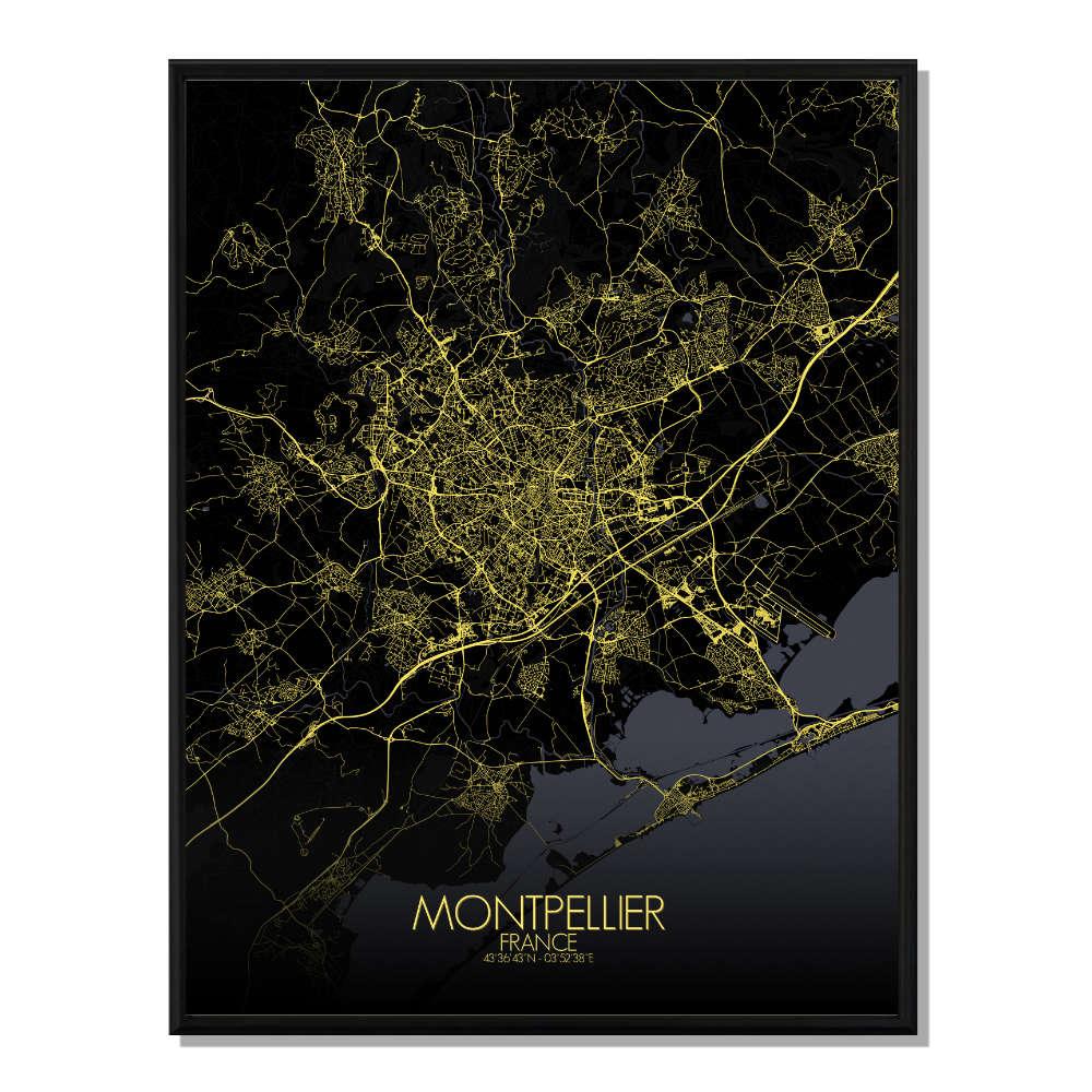 MONTPELLIER - Carte Map Nuit 40x50cm