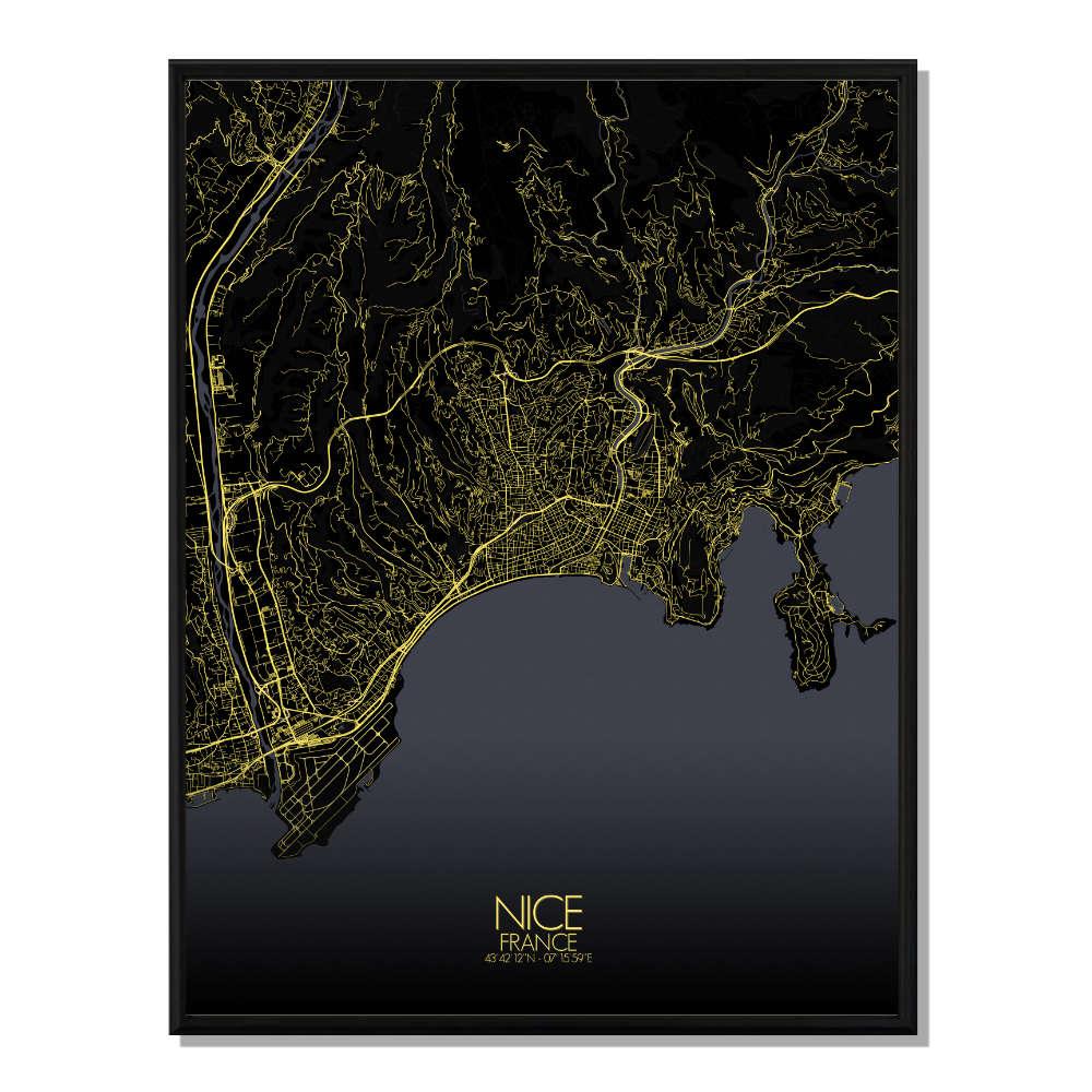 NICE - Carte City Map Nuit 40x50cm
