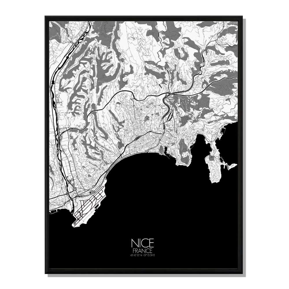NICE - Carte City Map N&B 40x50cm