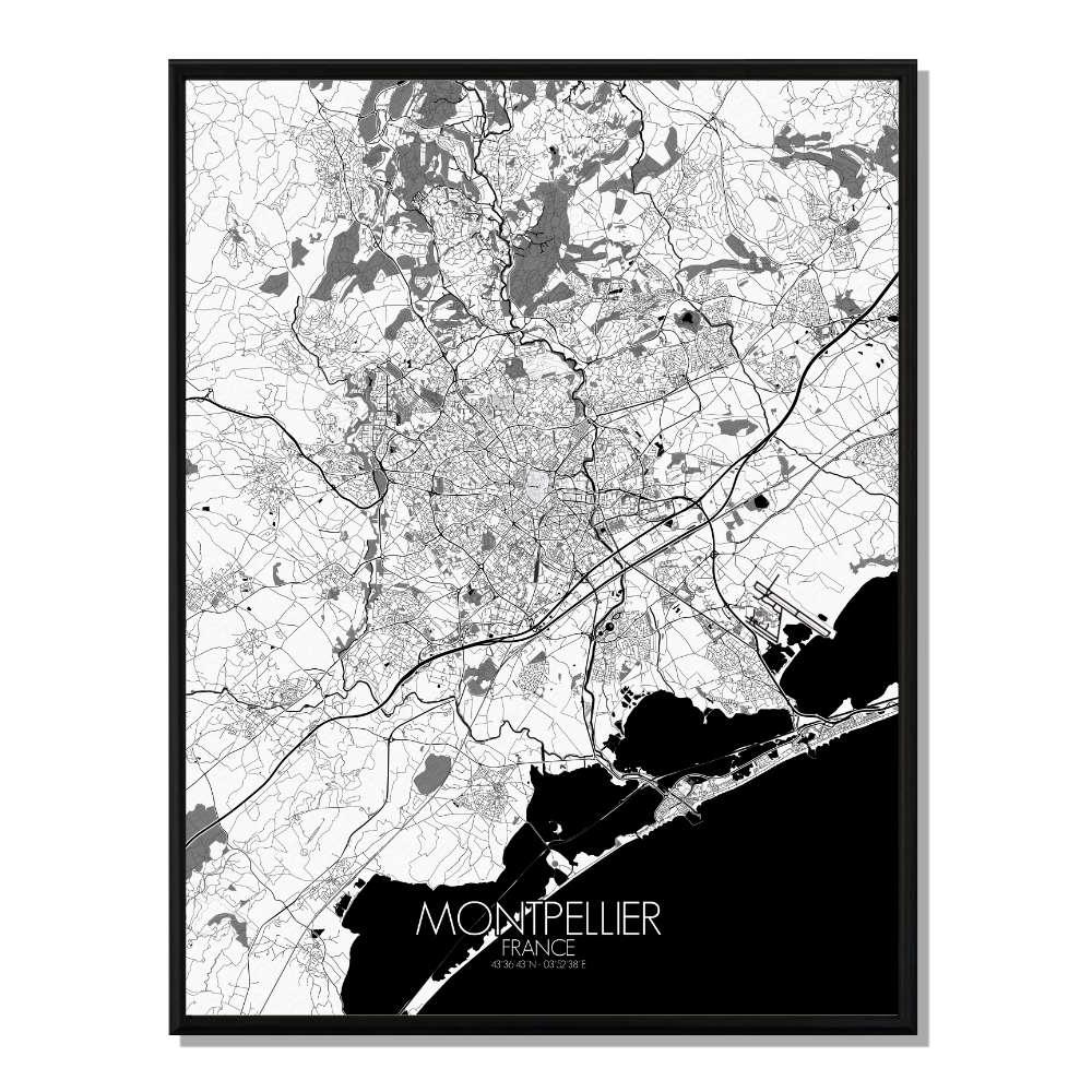 MONTPELLIER - Carte Map N&B 40x50cm