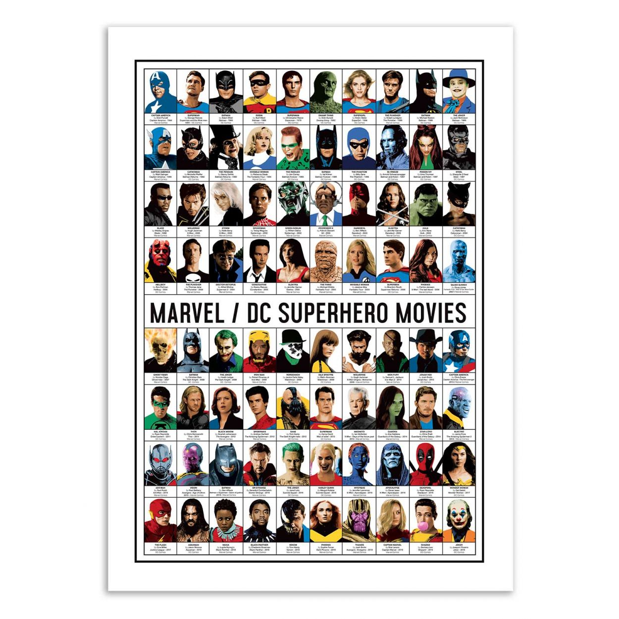 MARVEL AND DC SUPERHERO MOVIES - Affiche d'art 50 x 70 cm
