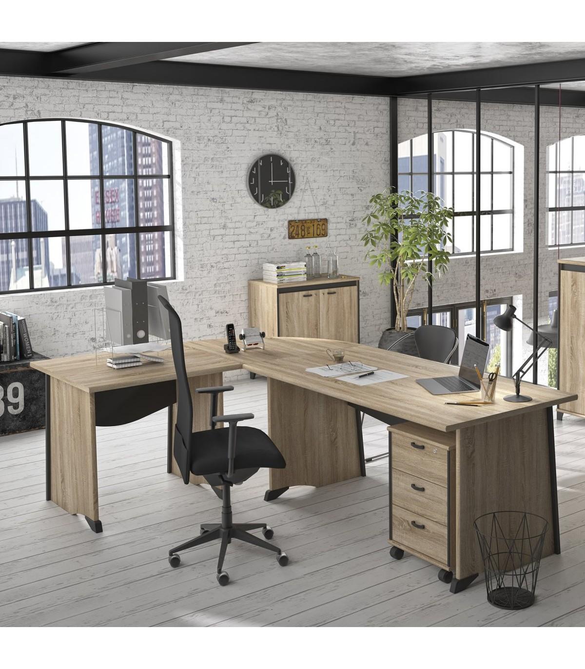 Bureau style industriel avec voile de fond - Beige et Noir