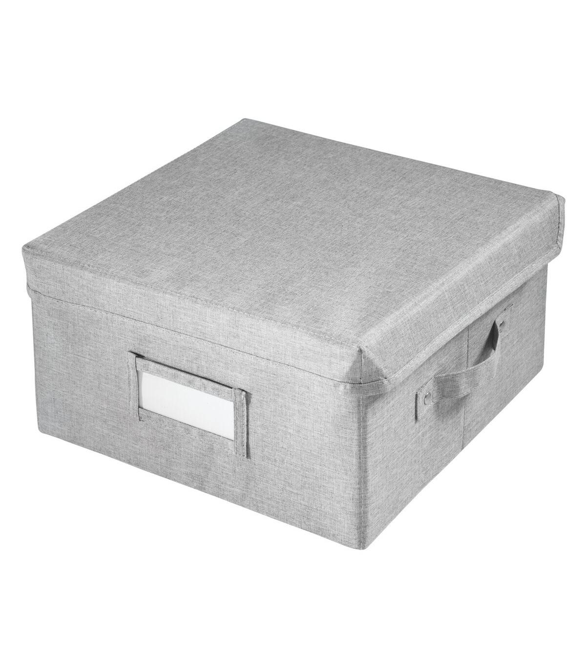 Cube de rangement polyester 29 x 28 x H15cm - Gris