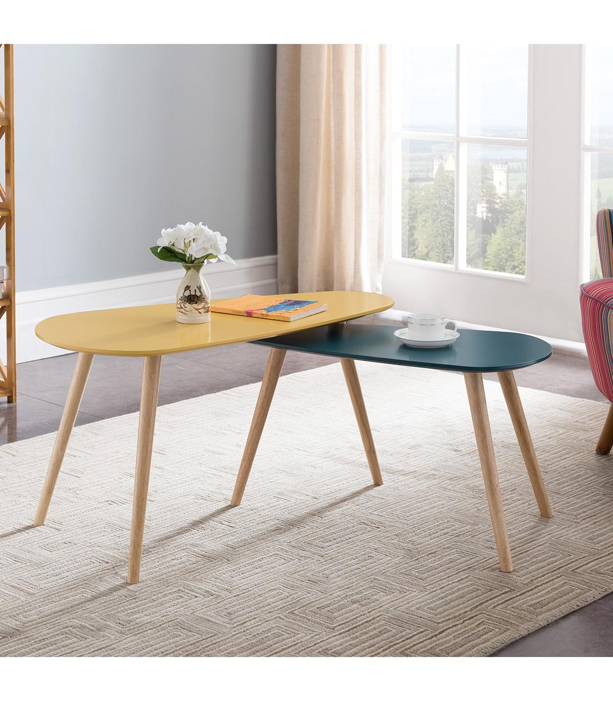 Lot de 2 Tables basses style scandinave couleur jaune et bleu