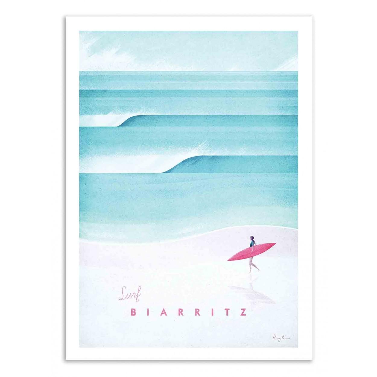 SURF BIARRITZ - Affiche d'art 50 x 70 cm
