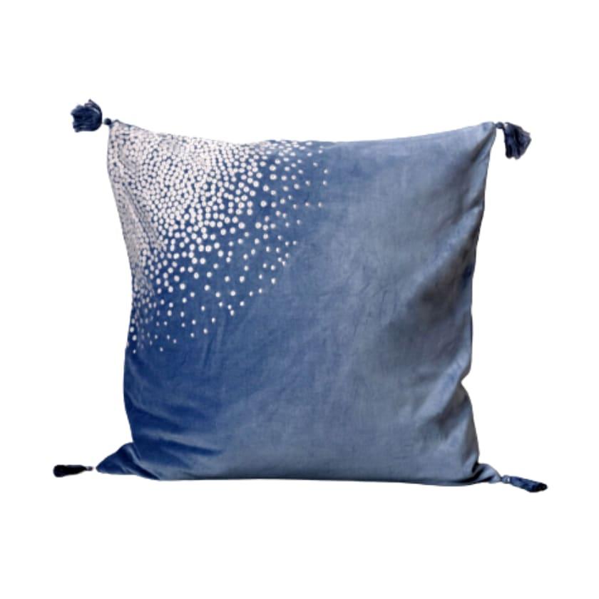 Housse de coussin en velours bleu brodé 50x50 cm