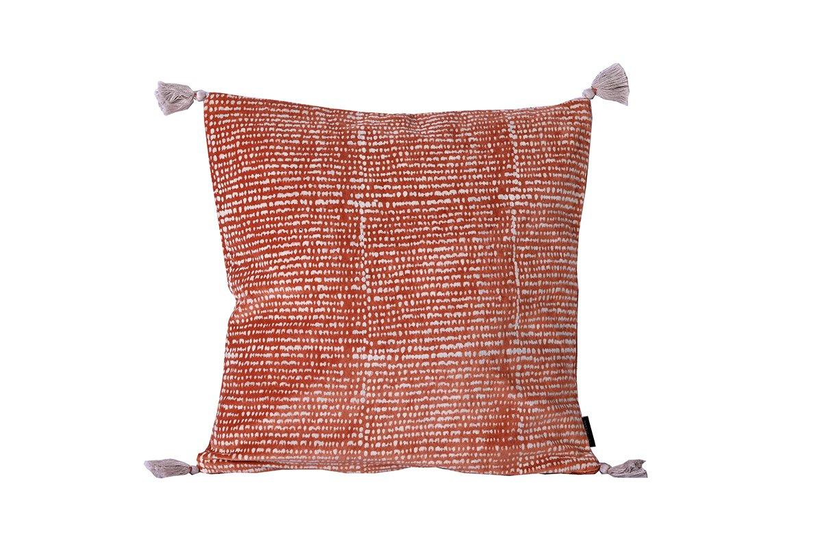 Housse de coussin en velours brique imprimé 40x40 cm