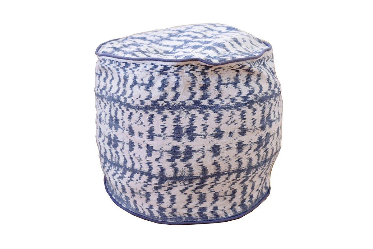 Pouf en coton tissé bleu 38x33 cm