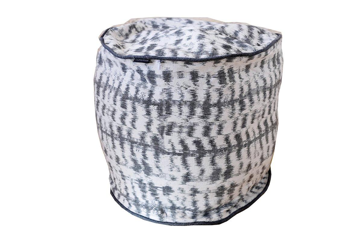 Pouf en coton tissé gris 38x33 cm