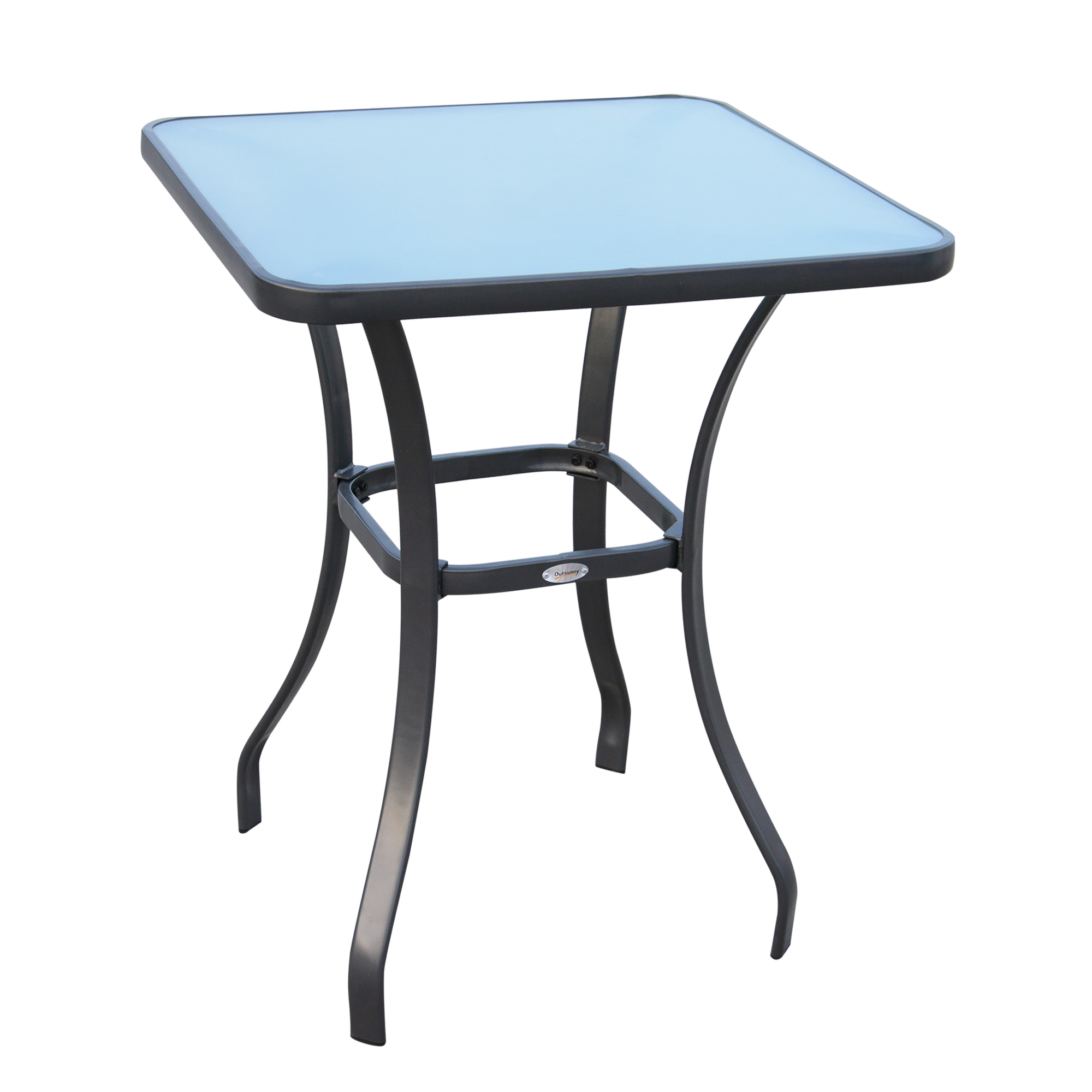 Table carrée bistro de jardin métal gris plateau verre trempé granité