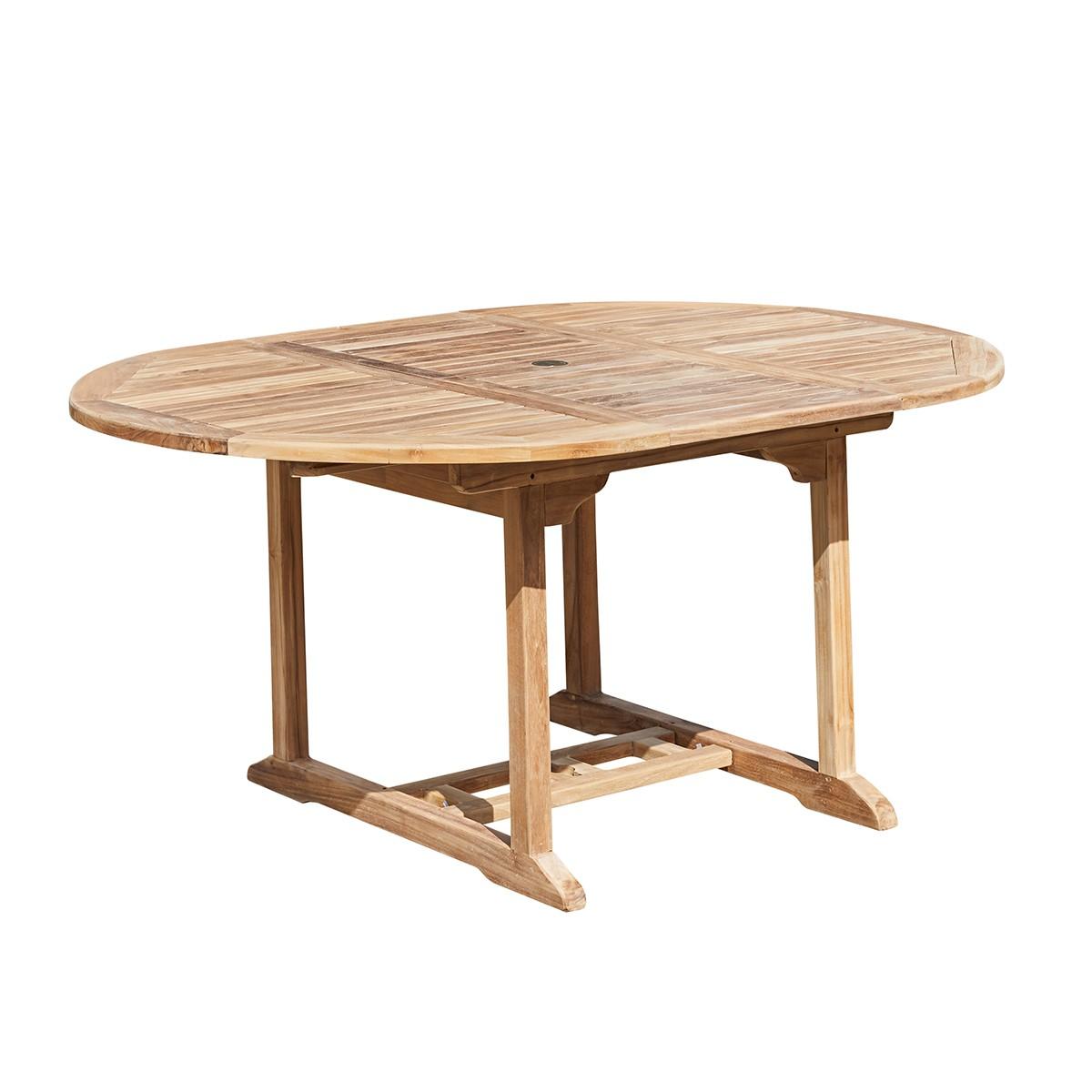 Table de jardin extensible en teck 6/8 personnes