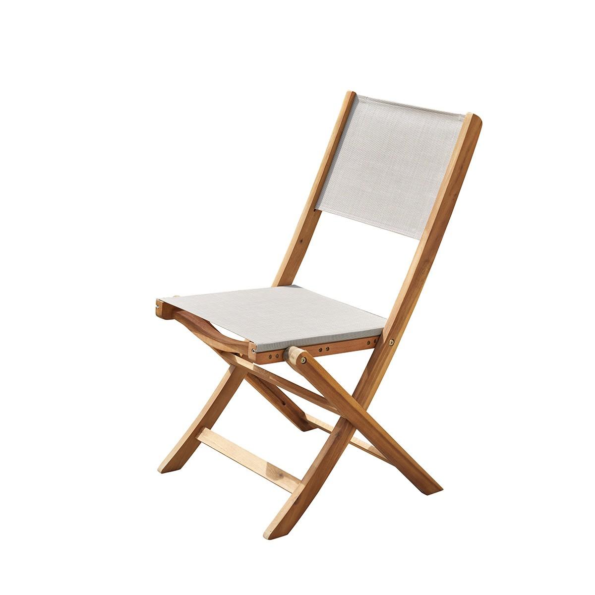 Chaise de jardin pliante en acacia et textilène gris