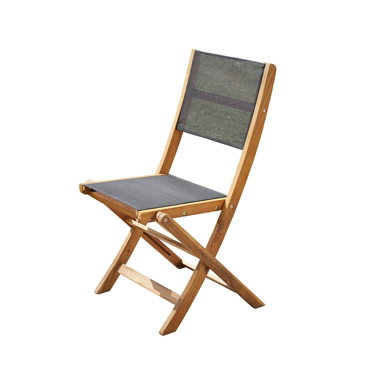 Chaise pliante en acacia et textilène noir