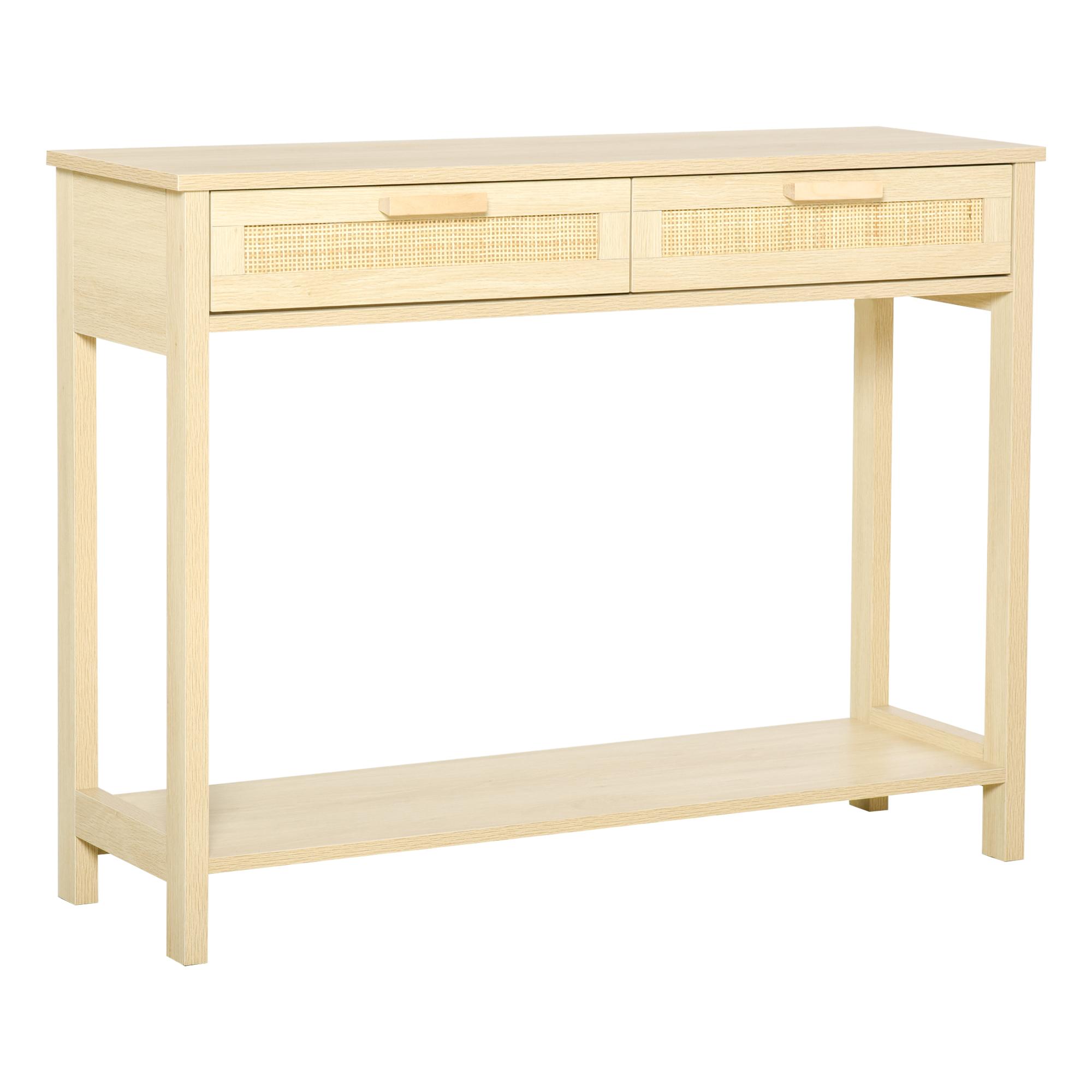 Console 2 tiroirs façades cannage en rotin étagère aspect bois clair
