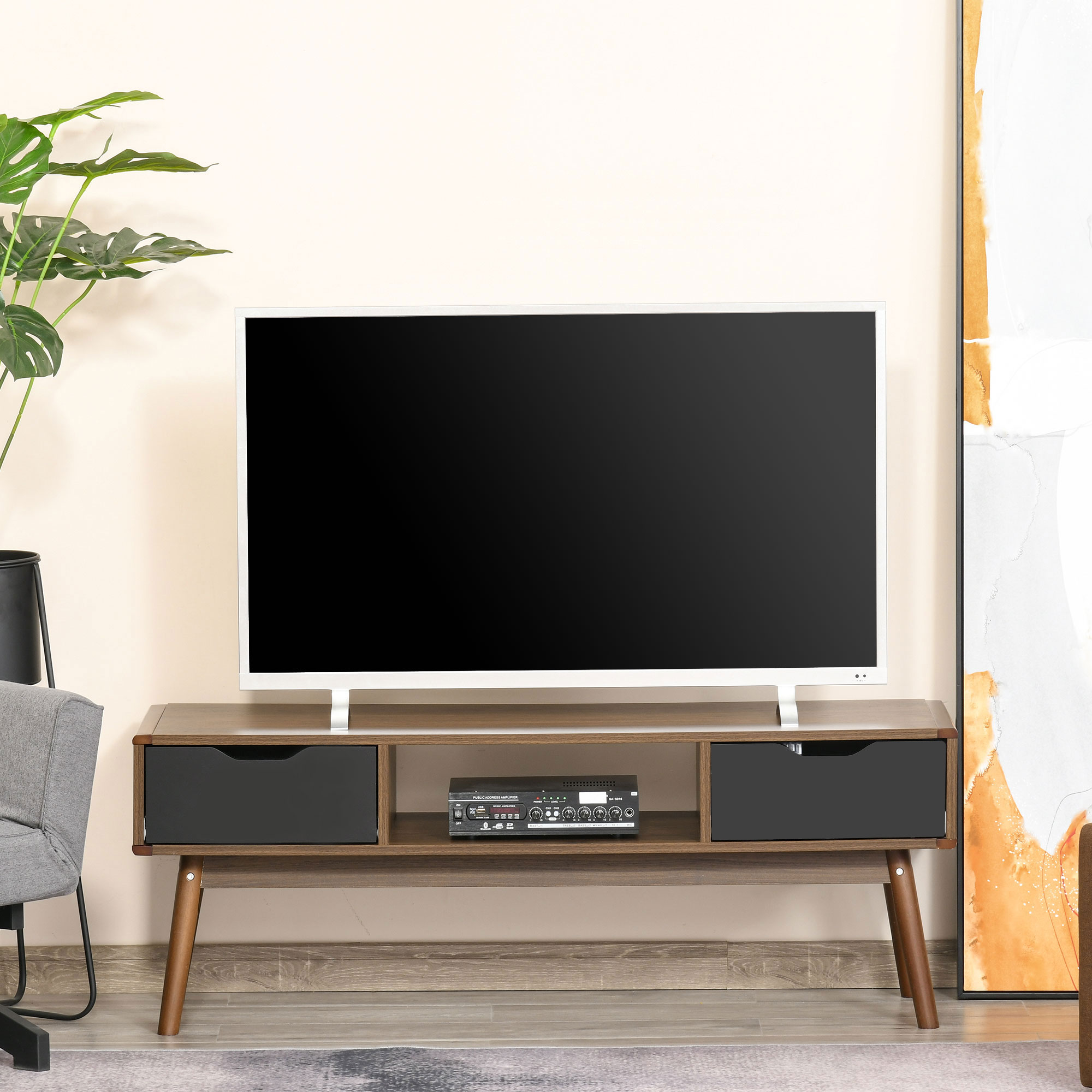Meuble TV bas sur pieds style scandinave 2 tiroirs aspect noyer