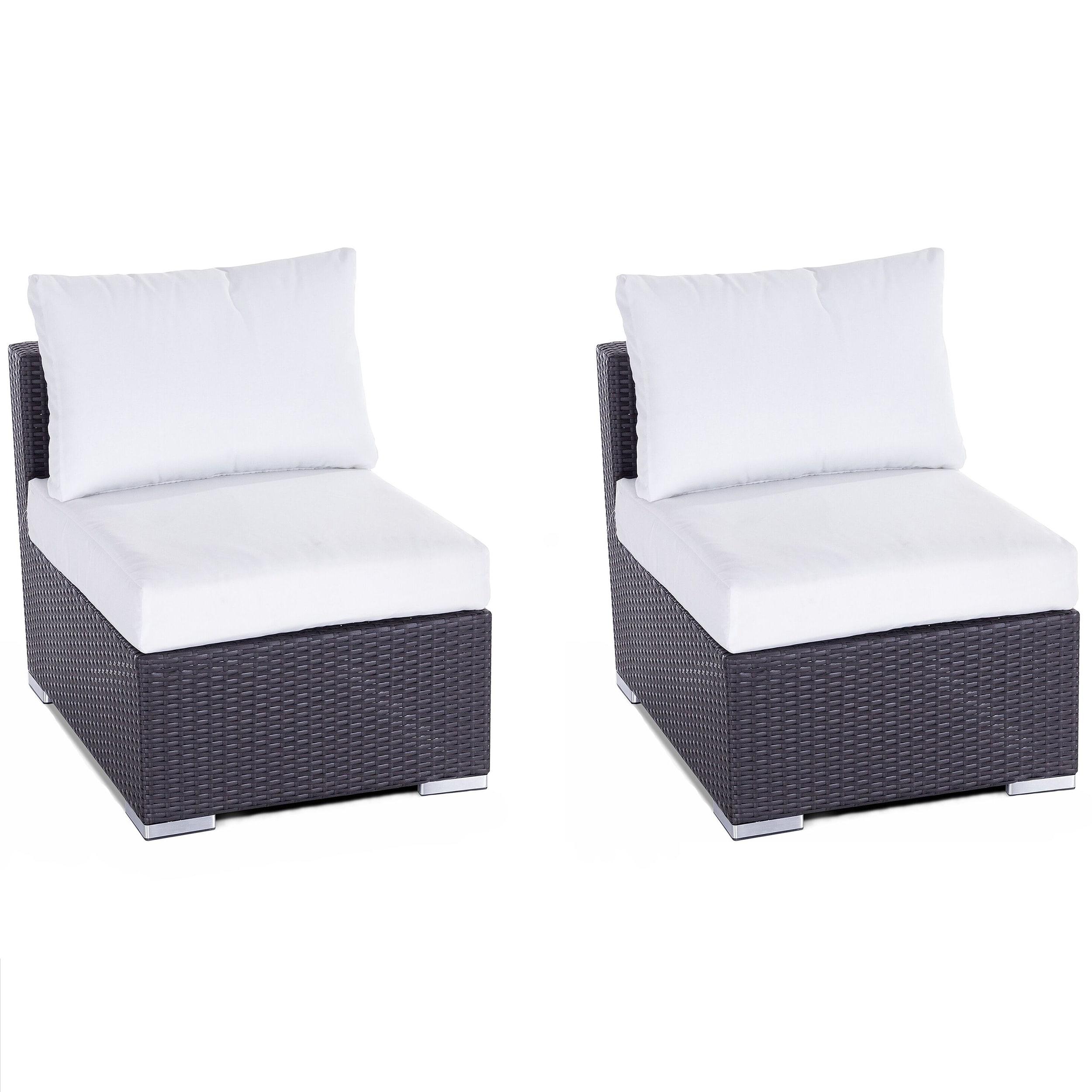 Lot de 2 fauteuils de jardin en rotin marron coussins blancs
