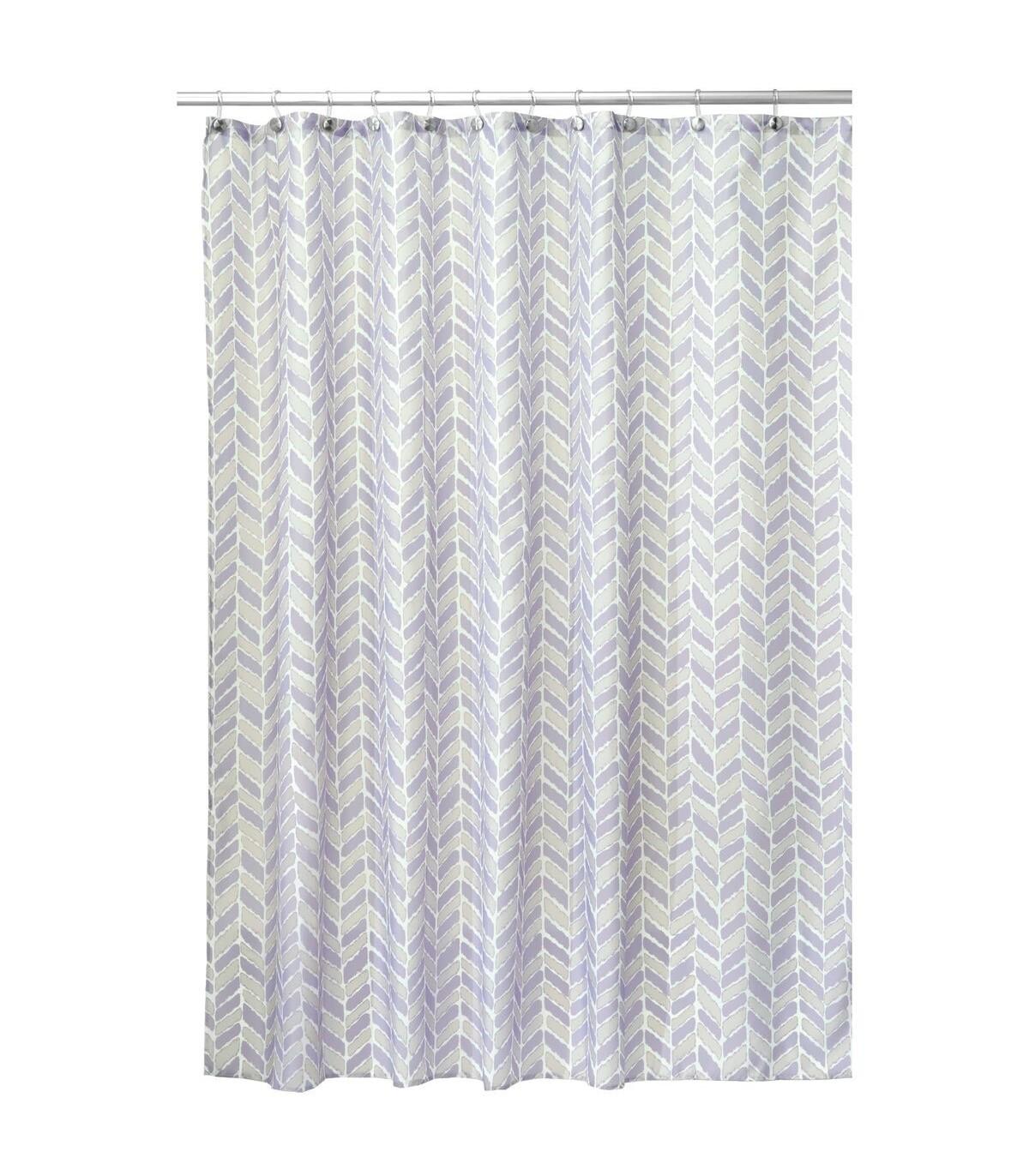 Rideau de douche avec motifs - Taupe et lavande - 183 x 2.3 x H183 cm