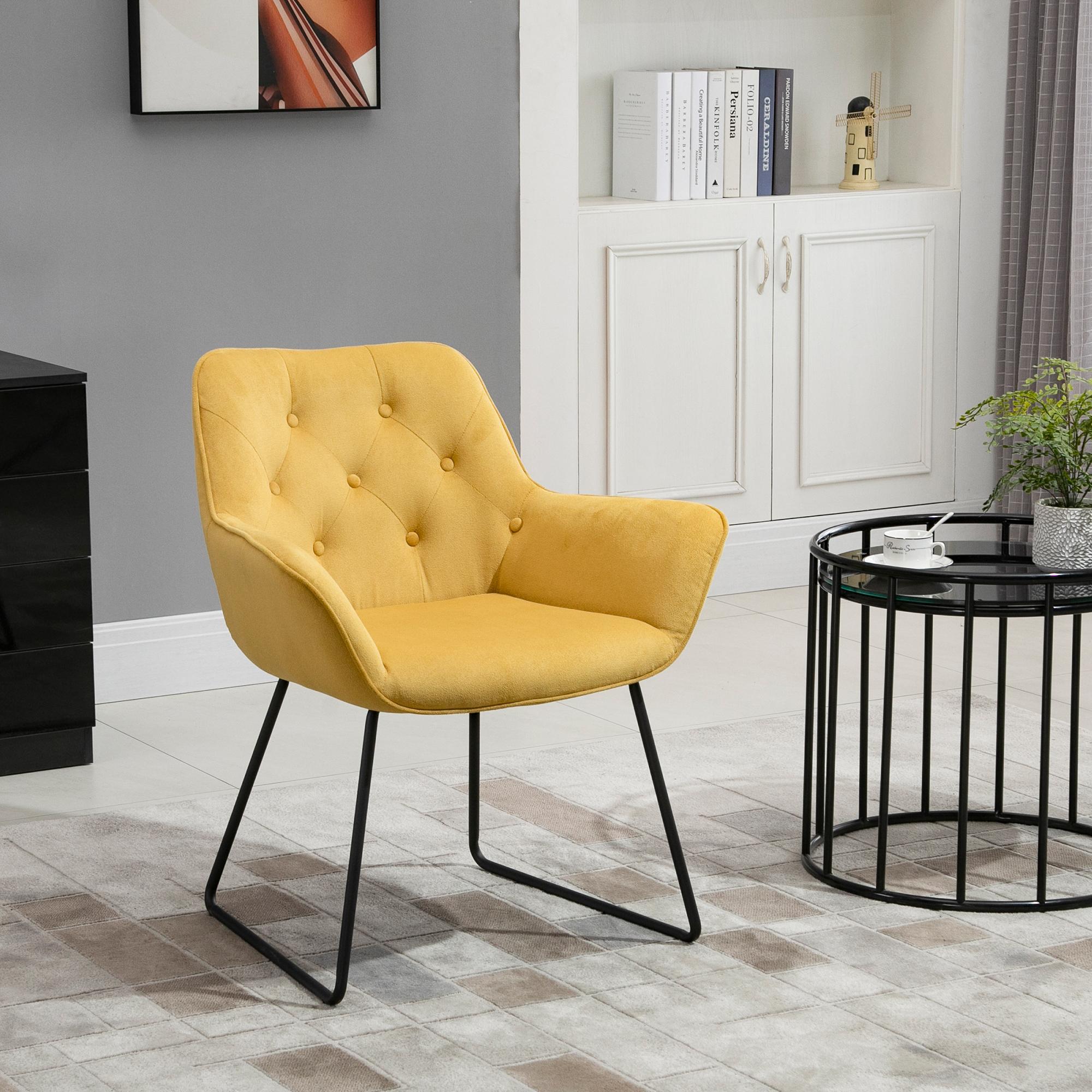 Chaise design contemporain métal noir velours moutarde