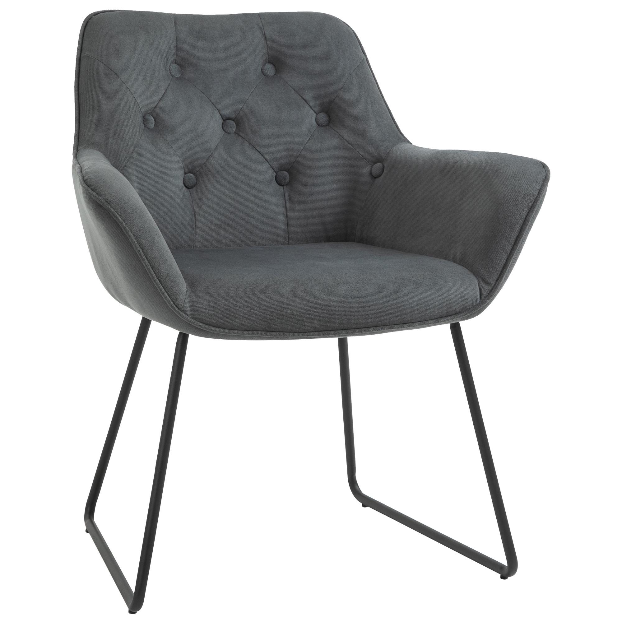 Chaise design contemporain métal noir velours gris