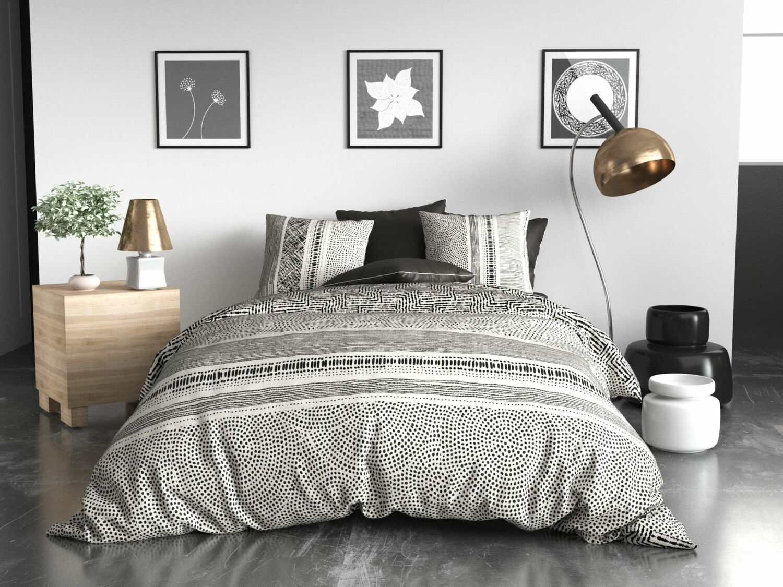 Parure de housse de couette coton gris 220x240 cm