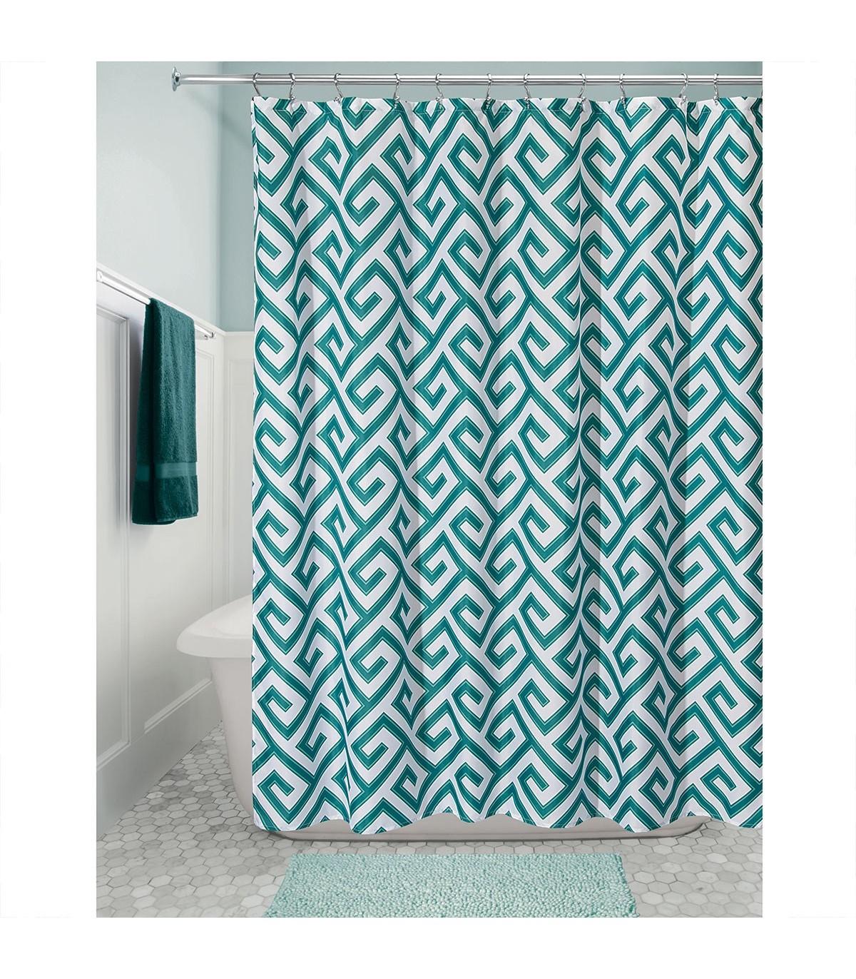 Rideau de douche avec motifs - Blanc et vert - 183 x 1 x H183 cm