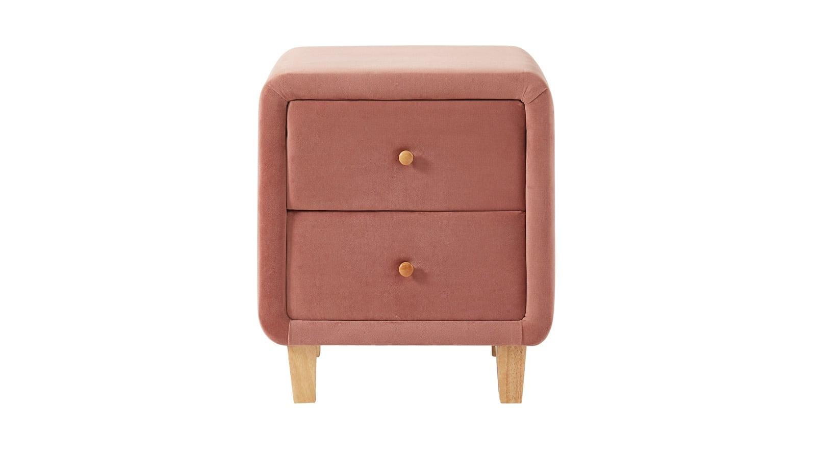 Table de chevet 2 tiroirs en velours rose blush