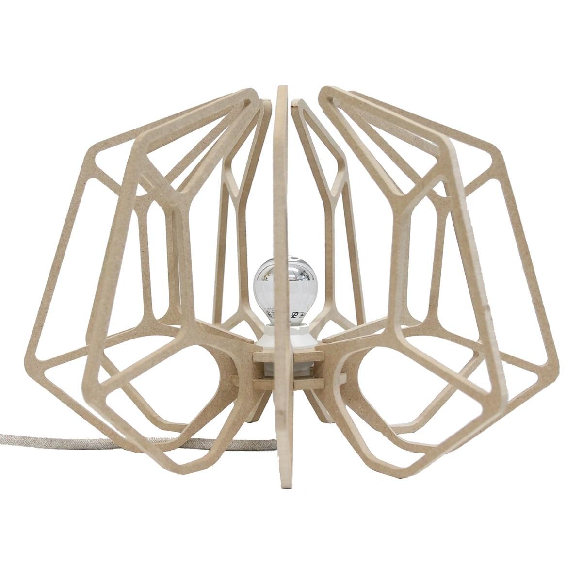 Lampe à poser bois design beige clair H25cm