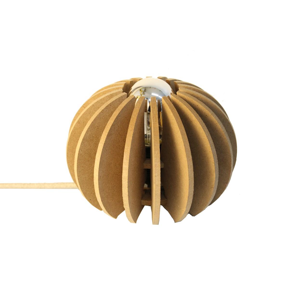 Lampe à poser bois boule beige foncé D20cm